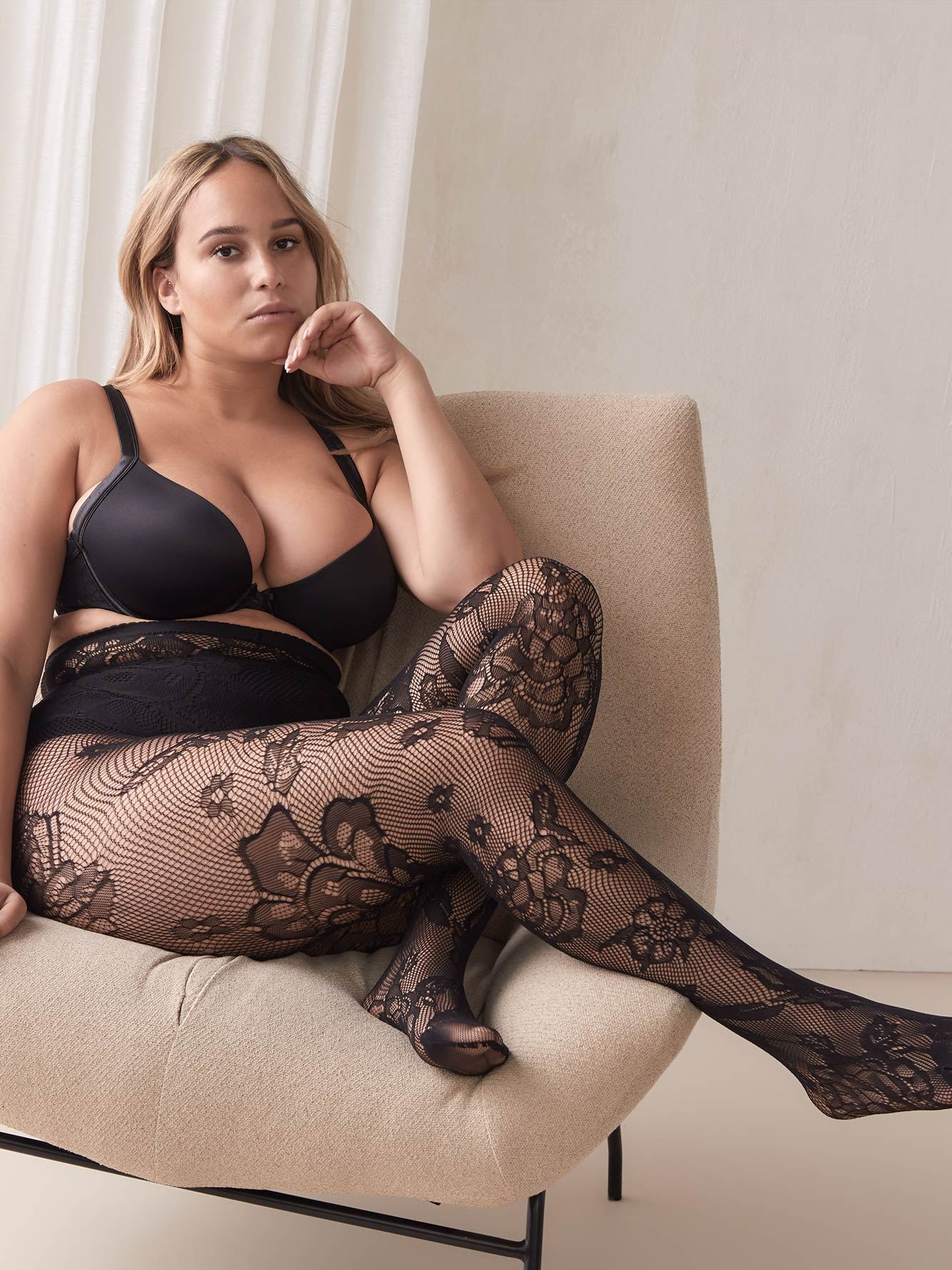 Floral Fishnet Tights - Addition Elle