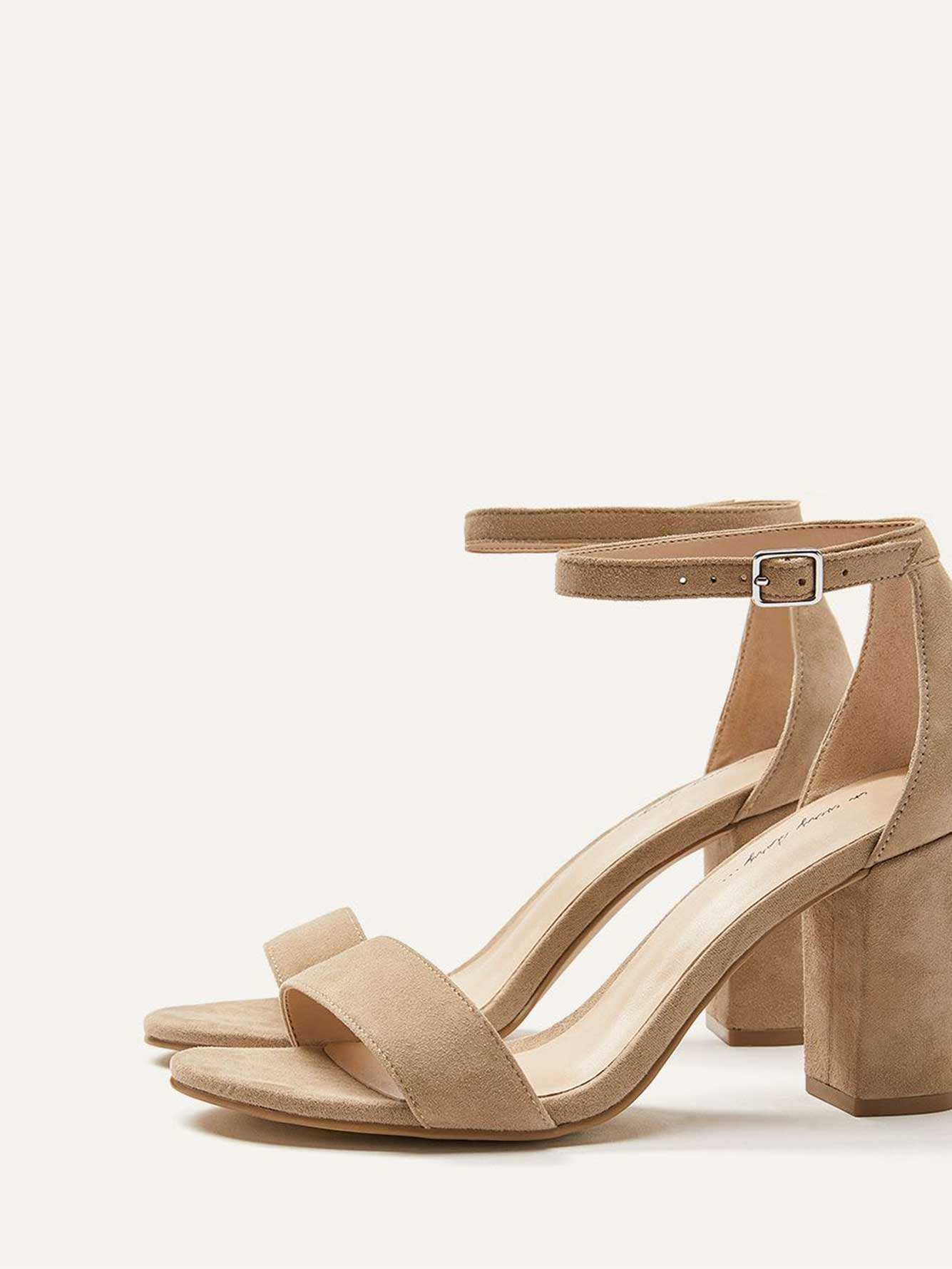 Wide Suede Heeled Sandals