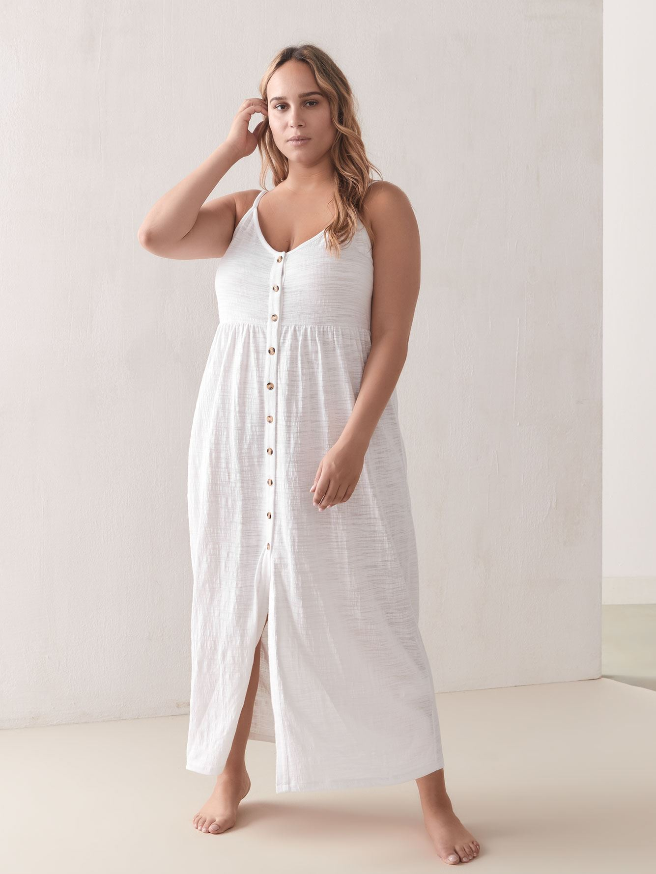Button-Down Cover Up Maxi Dress - Addition Elle