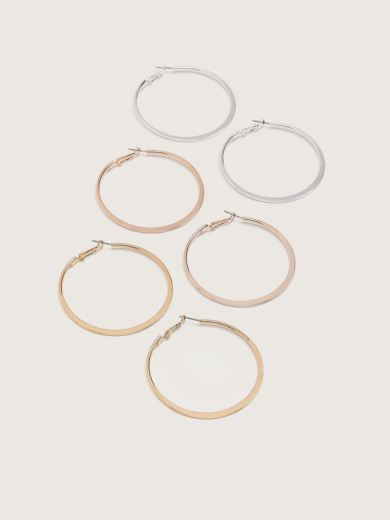 Thin Hoops Earrings, 3-Pack - Addition Elle
