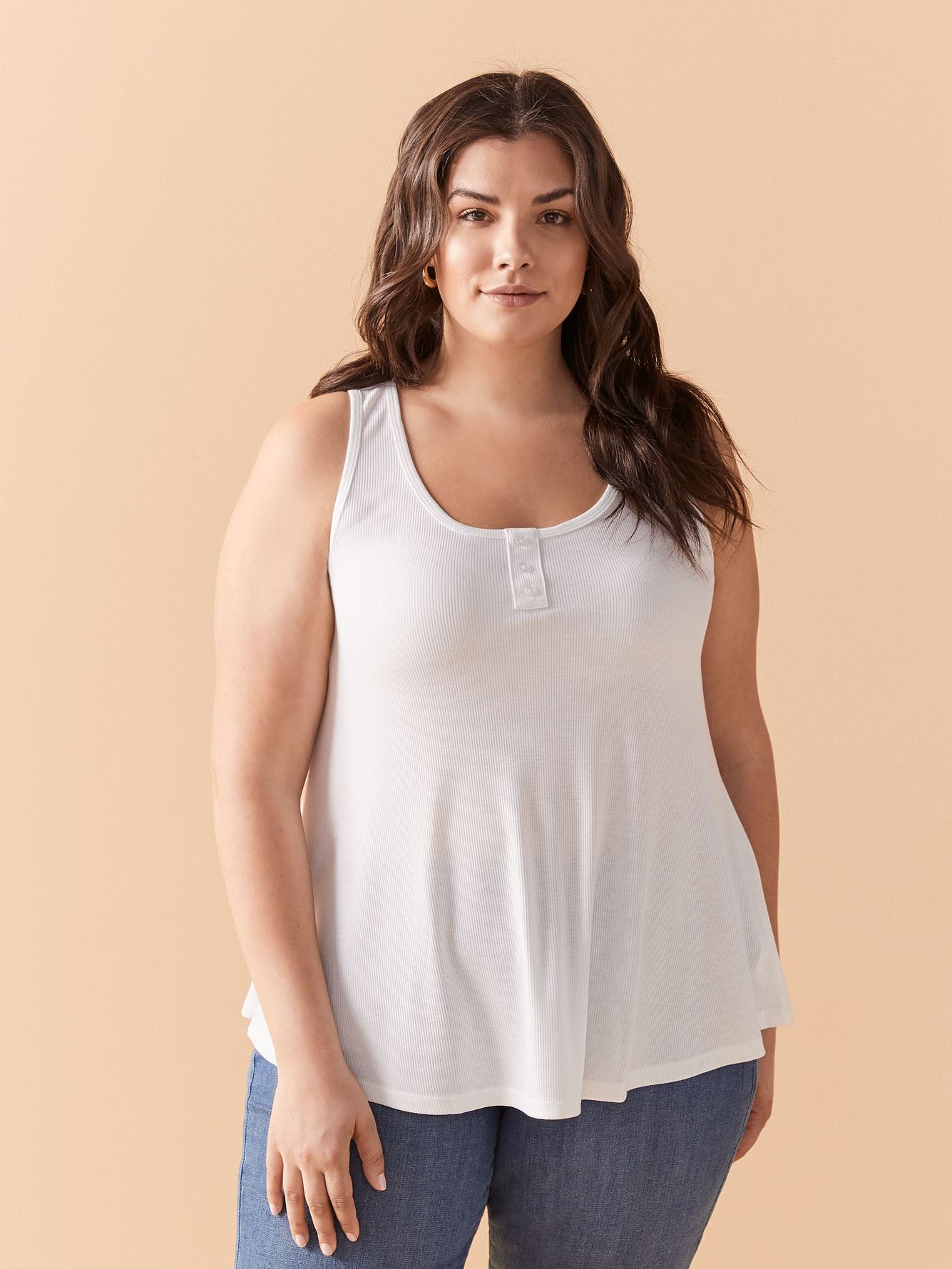 U-Neck Ribbed Swing Tank Top - In Every Story