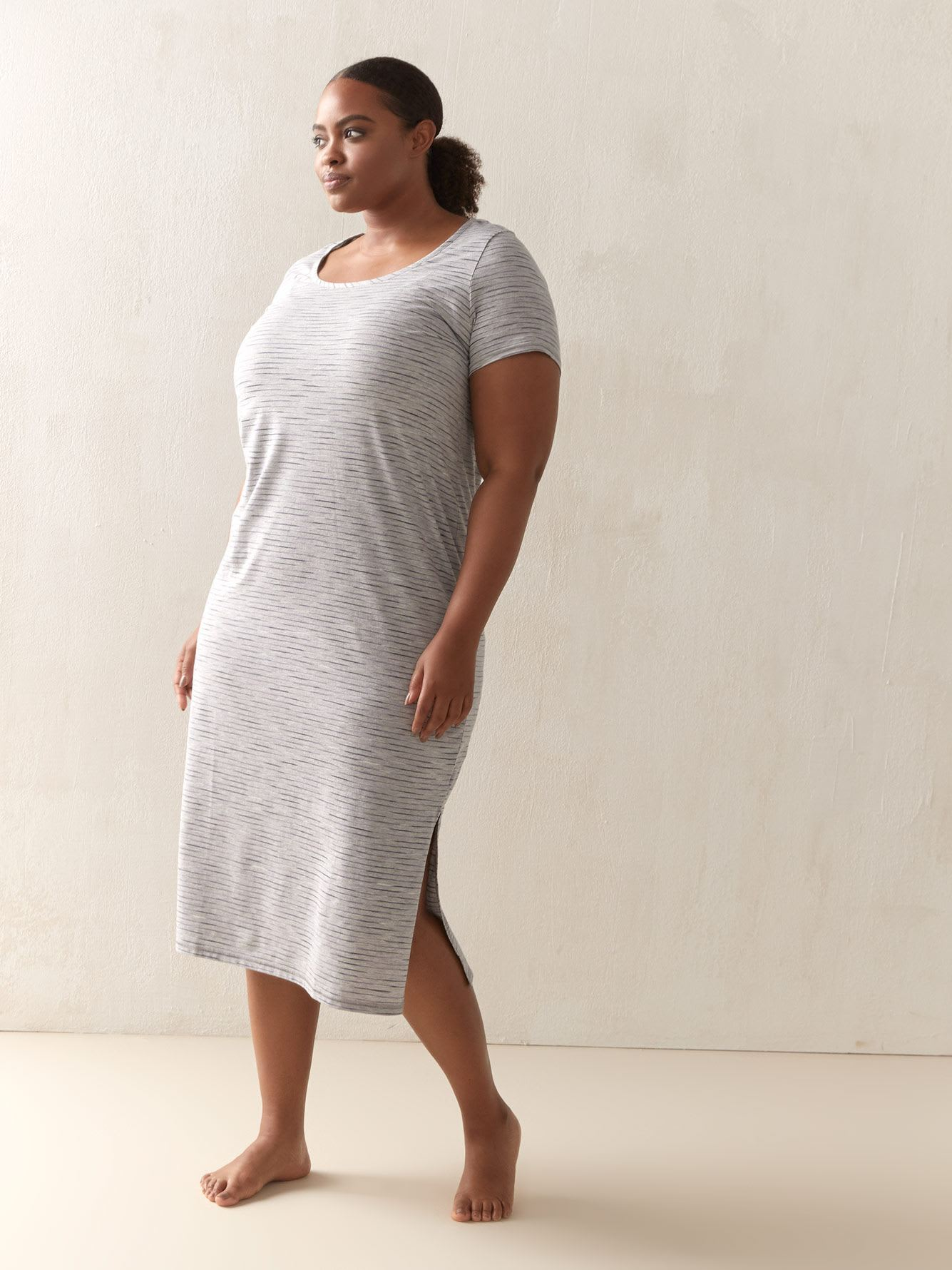 Long Heathered & Striped Sleepshirt