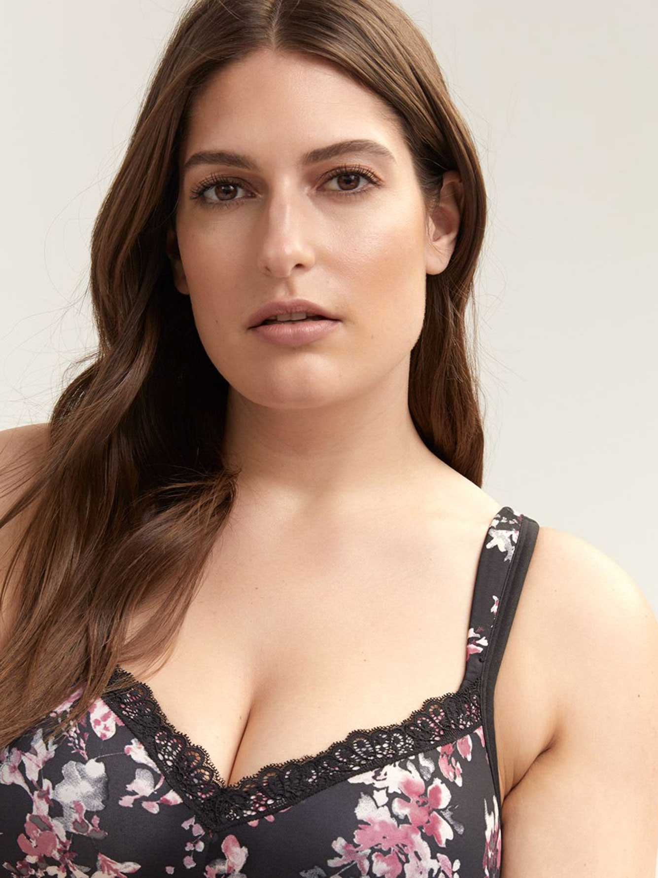 Printed Padded Wirefree Bra with Lace, G & H Cups - ti Voglio