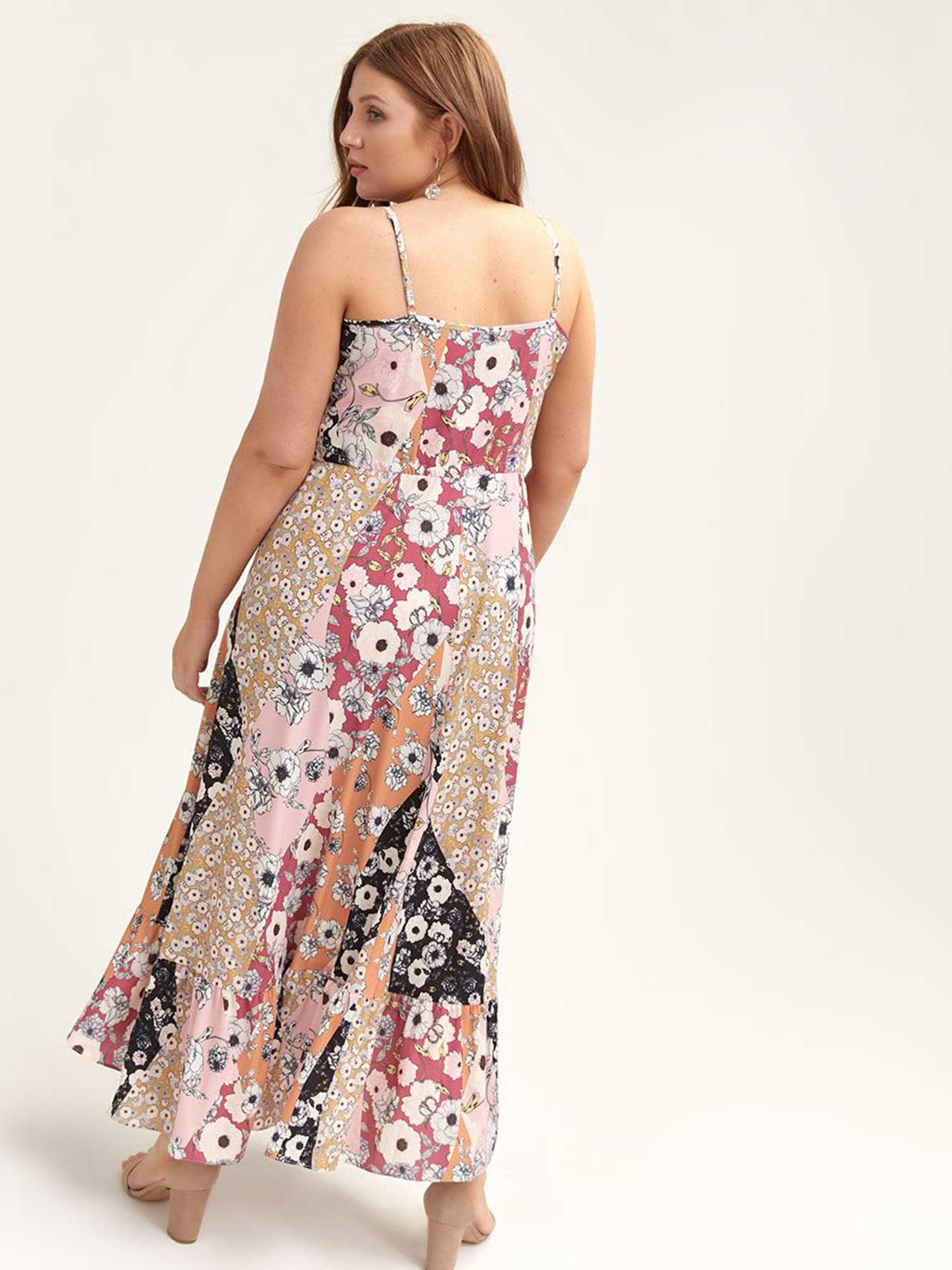 Maxi Dress with Floral Patchwork Print - City Chic