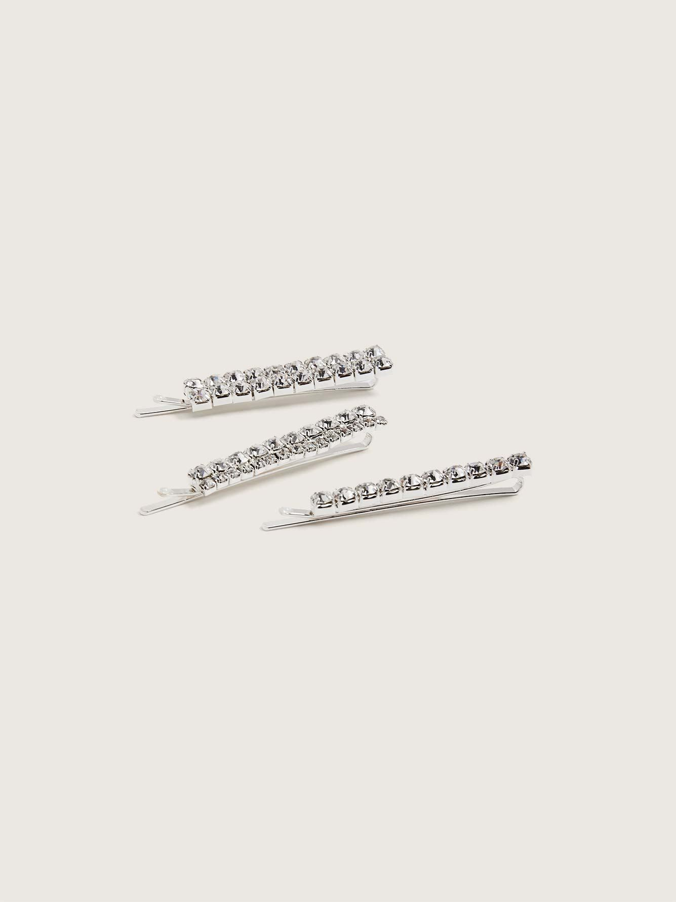 Clear Rhinestone Hair Pins, Pack of 3 - Addition Elle