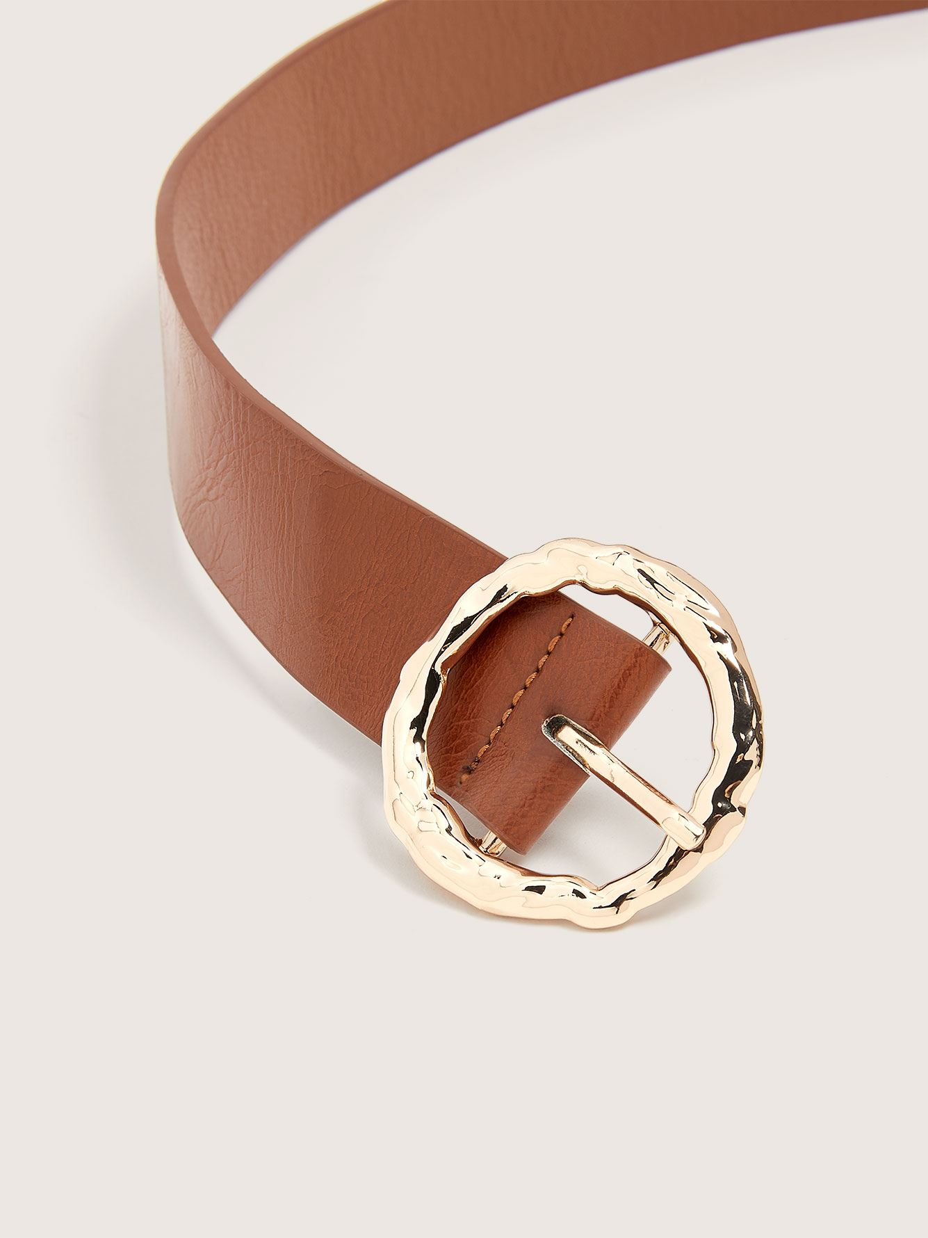 Faux Leather Belt with Hammered Buckle - Addition Elle