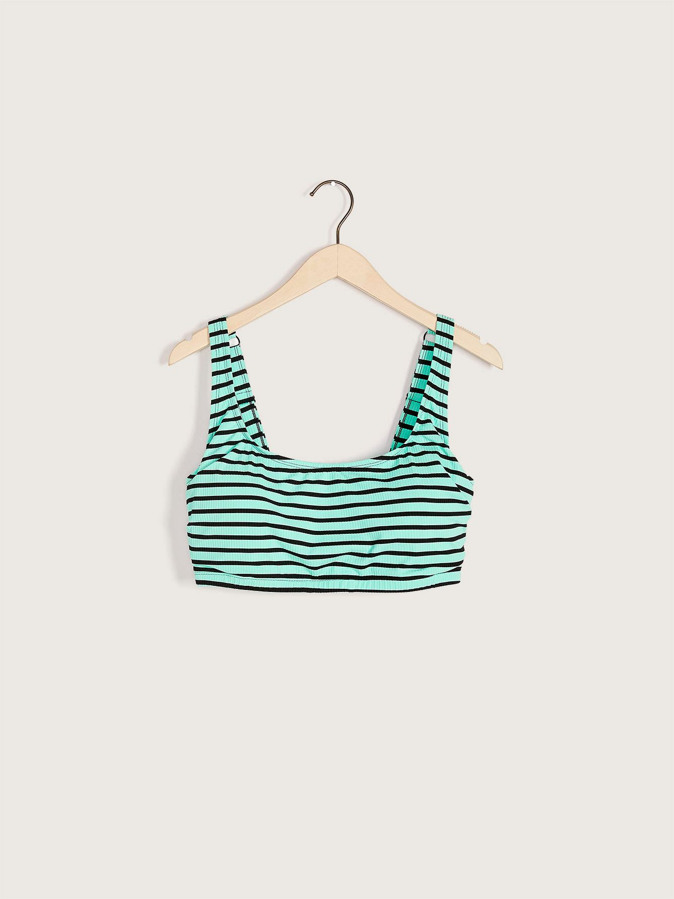 Striped Bikini Top with Adjustable Straps - Addition Elle