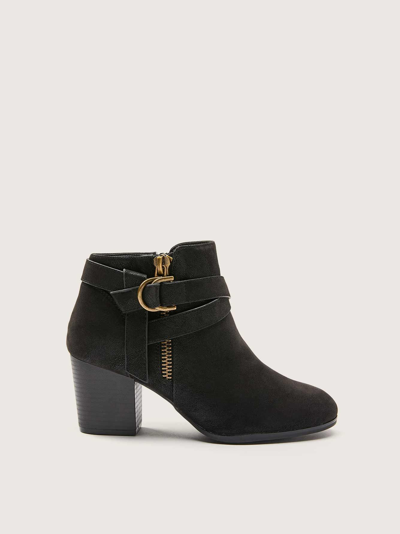 Wide Mid Heel Ankle Bootie with Side Strap - Addition Elle