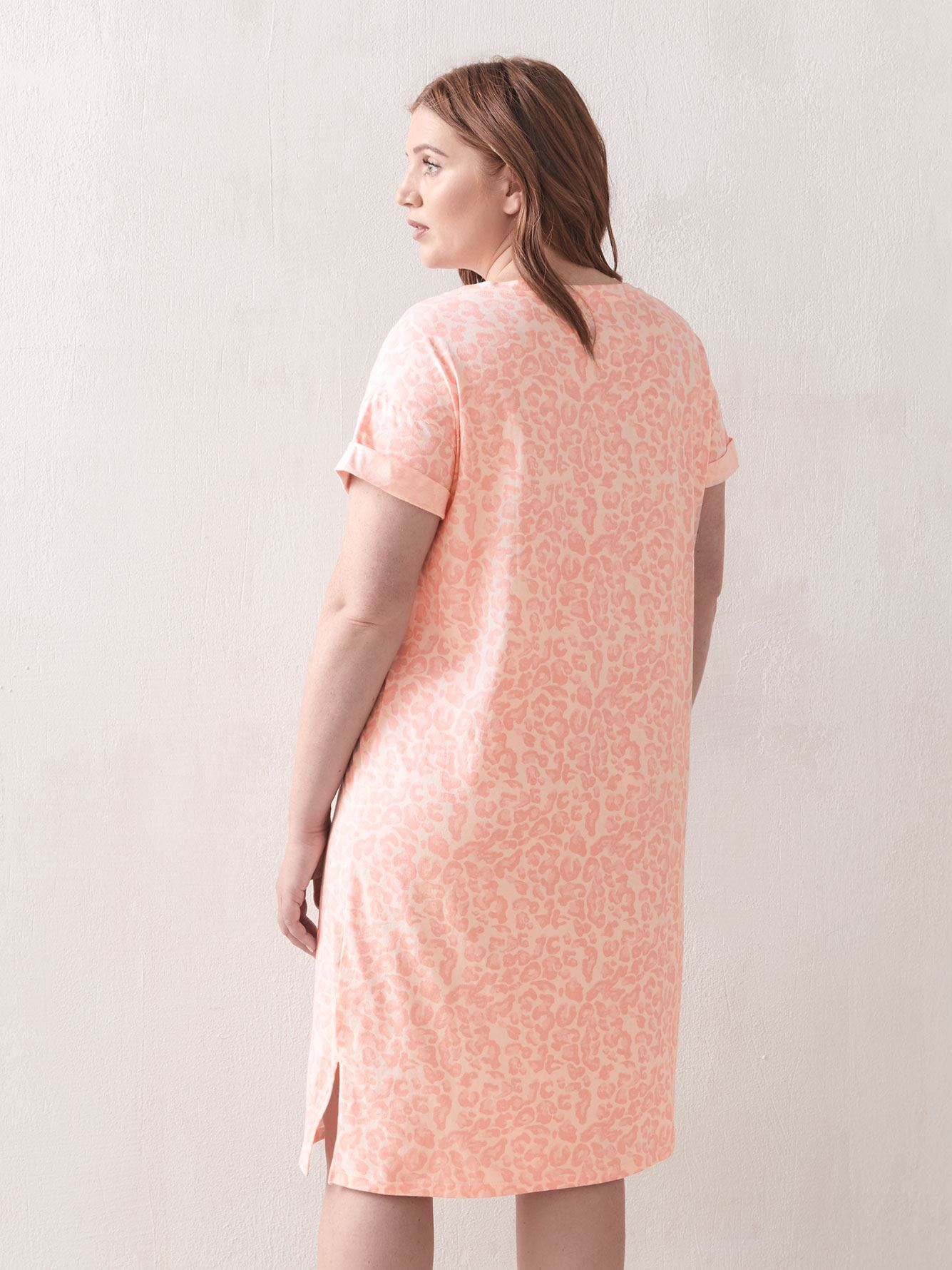 Printed Short Sleeve Sleepshirt - Addition Elle