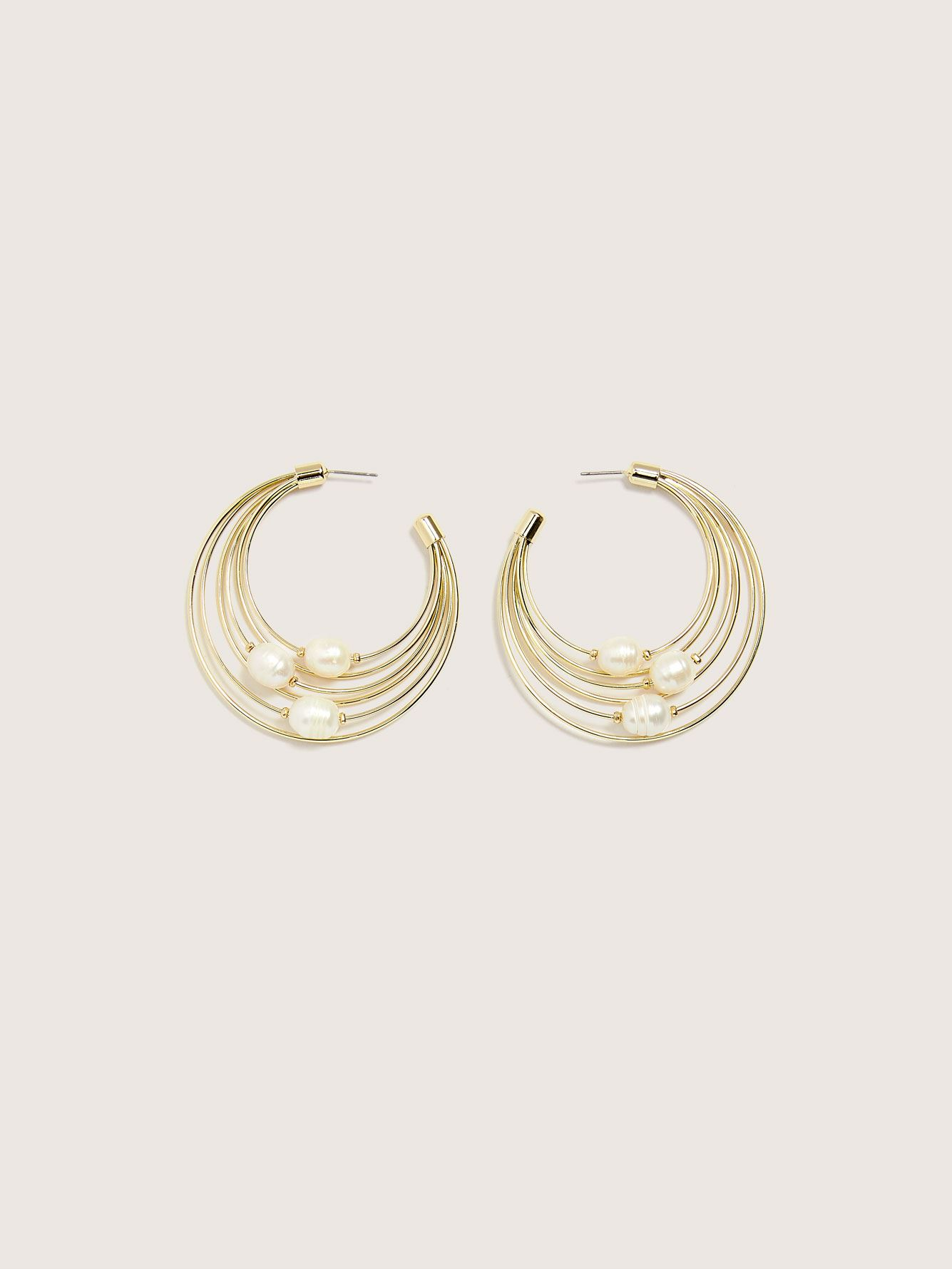 Hoop Earrings with Fresh Water Pearls - Addition Elle