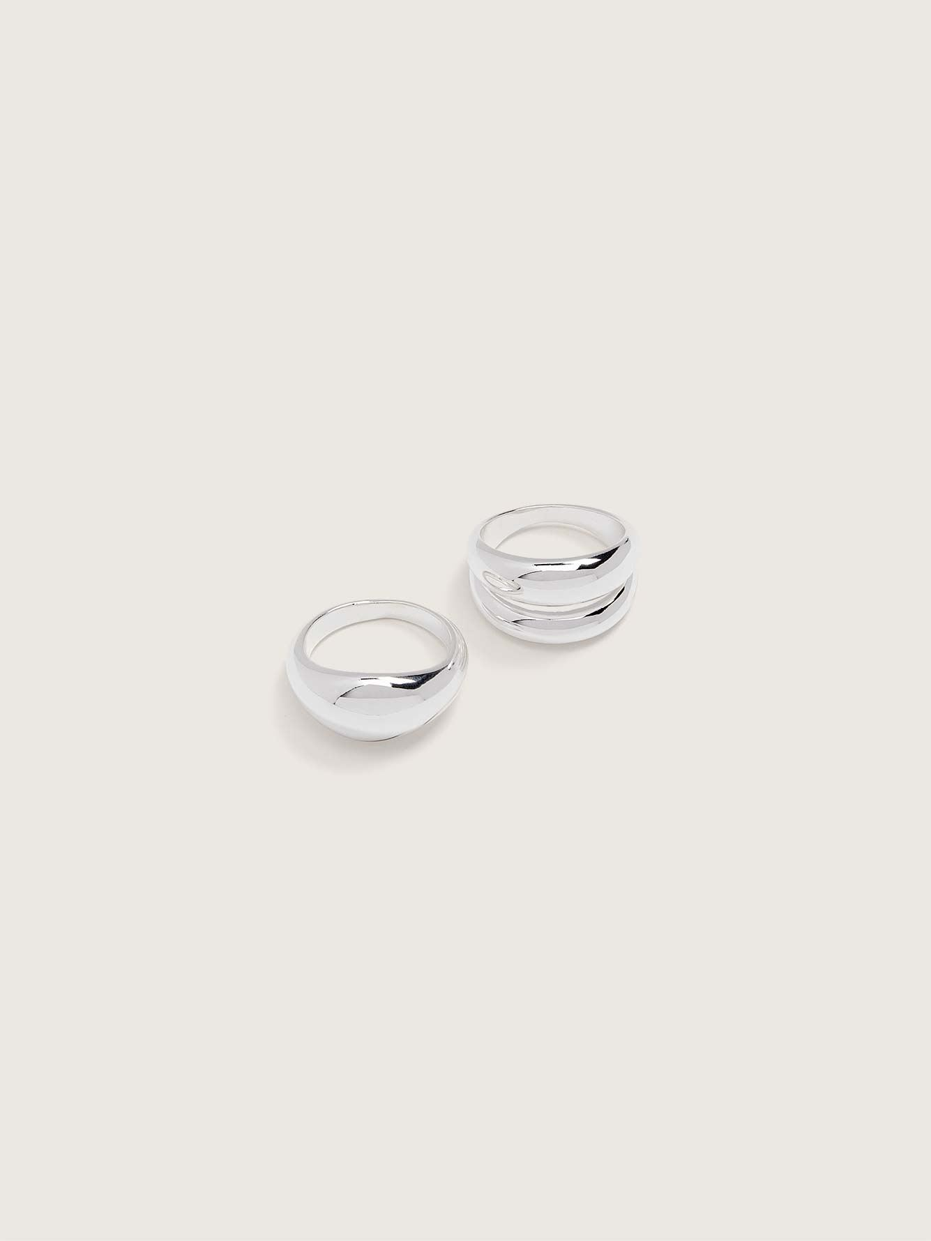 Pack of 2 Chunky Stackable Rings - Addition Elle
