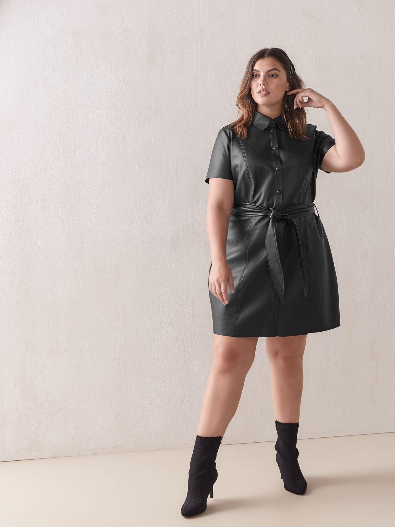 Faux-Leather Short Shirt Dress - Addition Elle