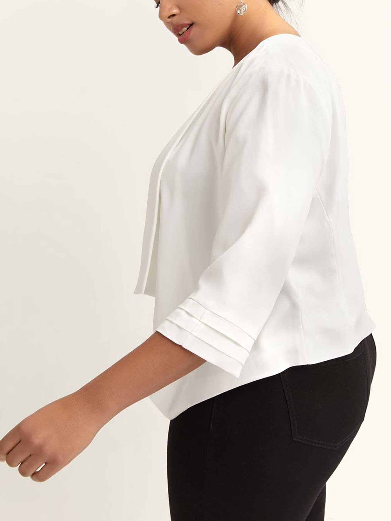 Waterfall Jacket with Three-Quarter Sleeves