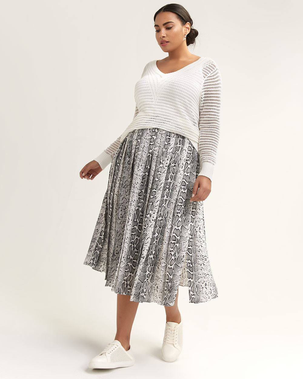 Snakeskin Print Pleated Midi Skirt