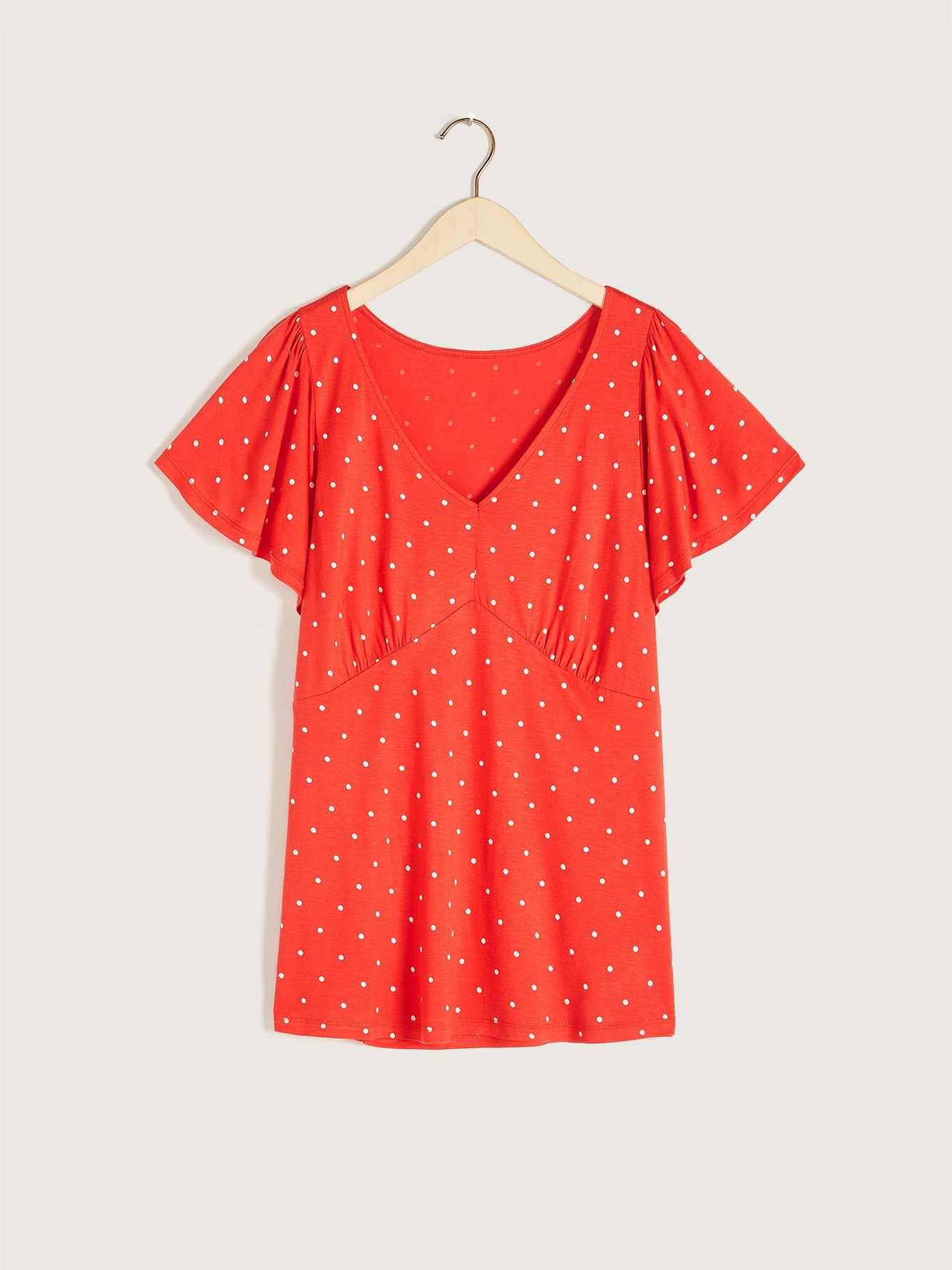 Printed Short Sleeve Empire Cut Top - Addition Elle