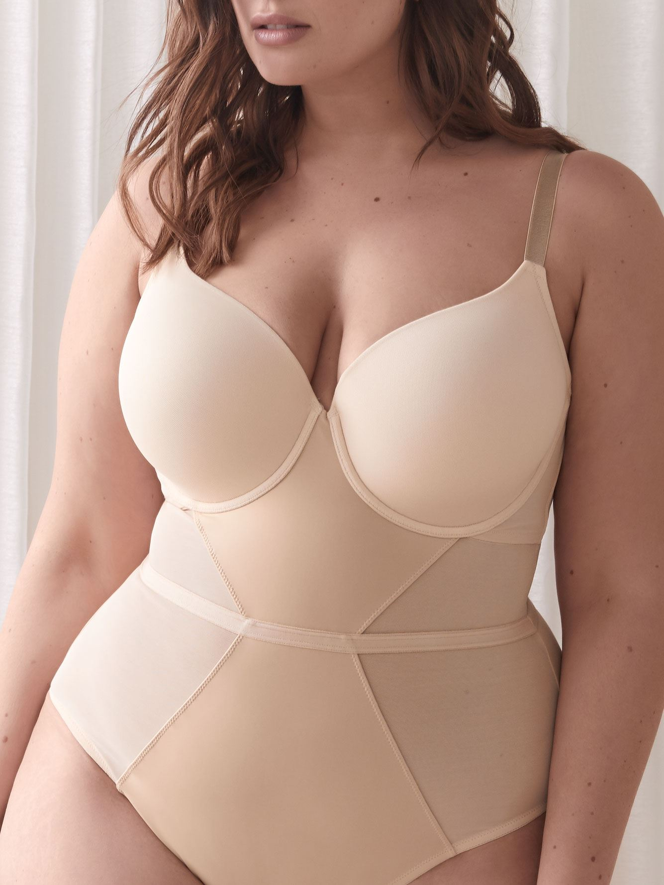 High Cut Bodysuit with Built-in Bra - Ashley Graham