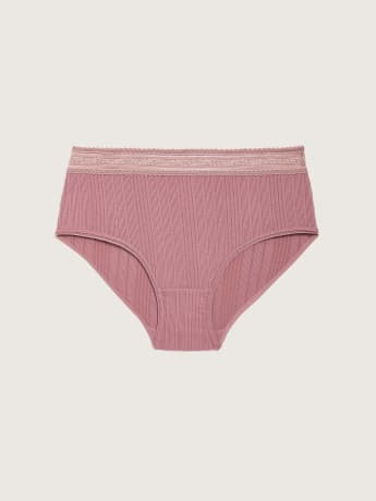 Ribbed Brief Panty with Lace - Addition Elle