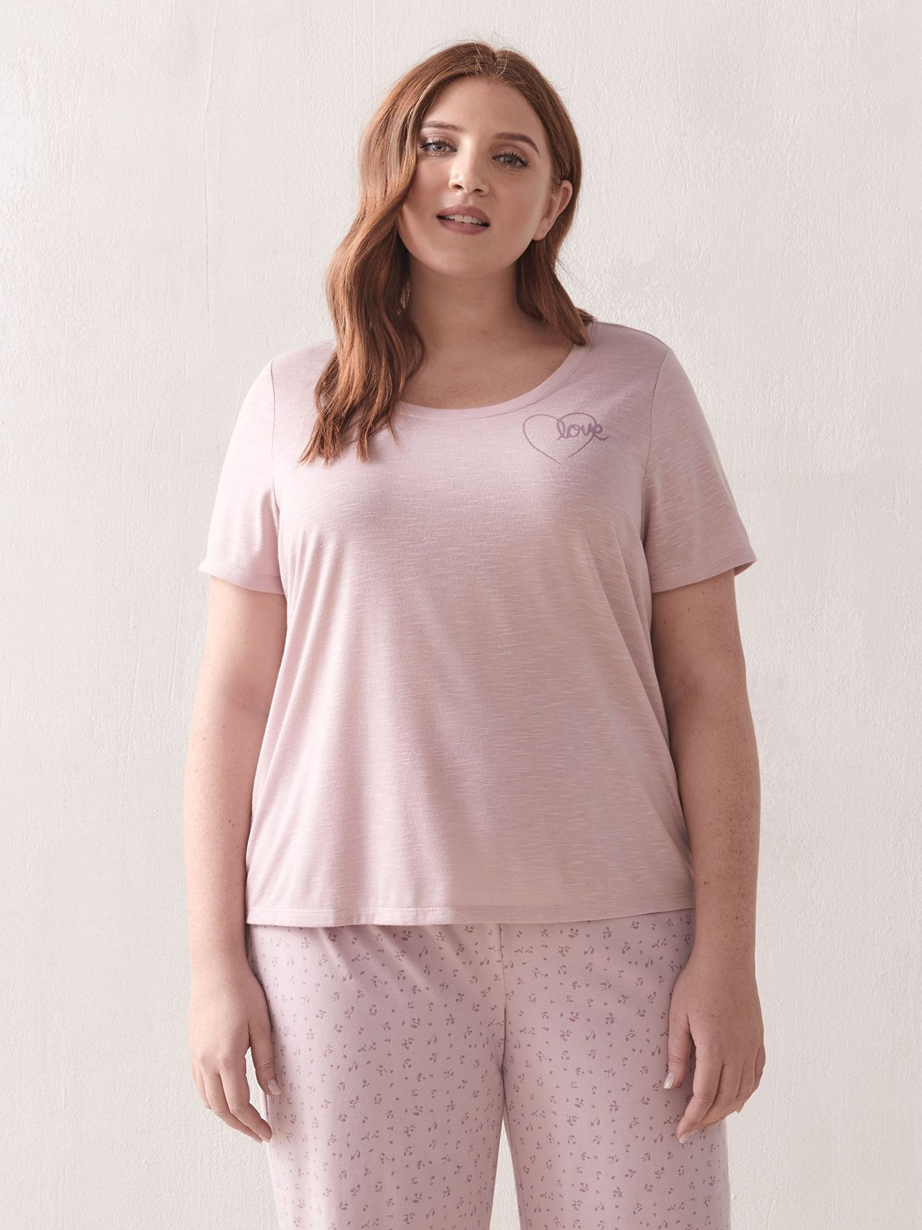 Solid Crew Neck Pajama T-Shirt - Addition Elle