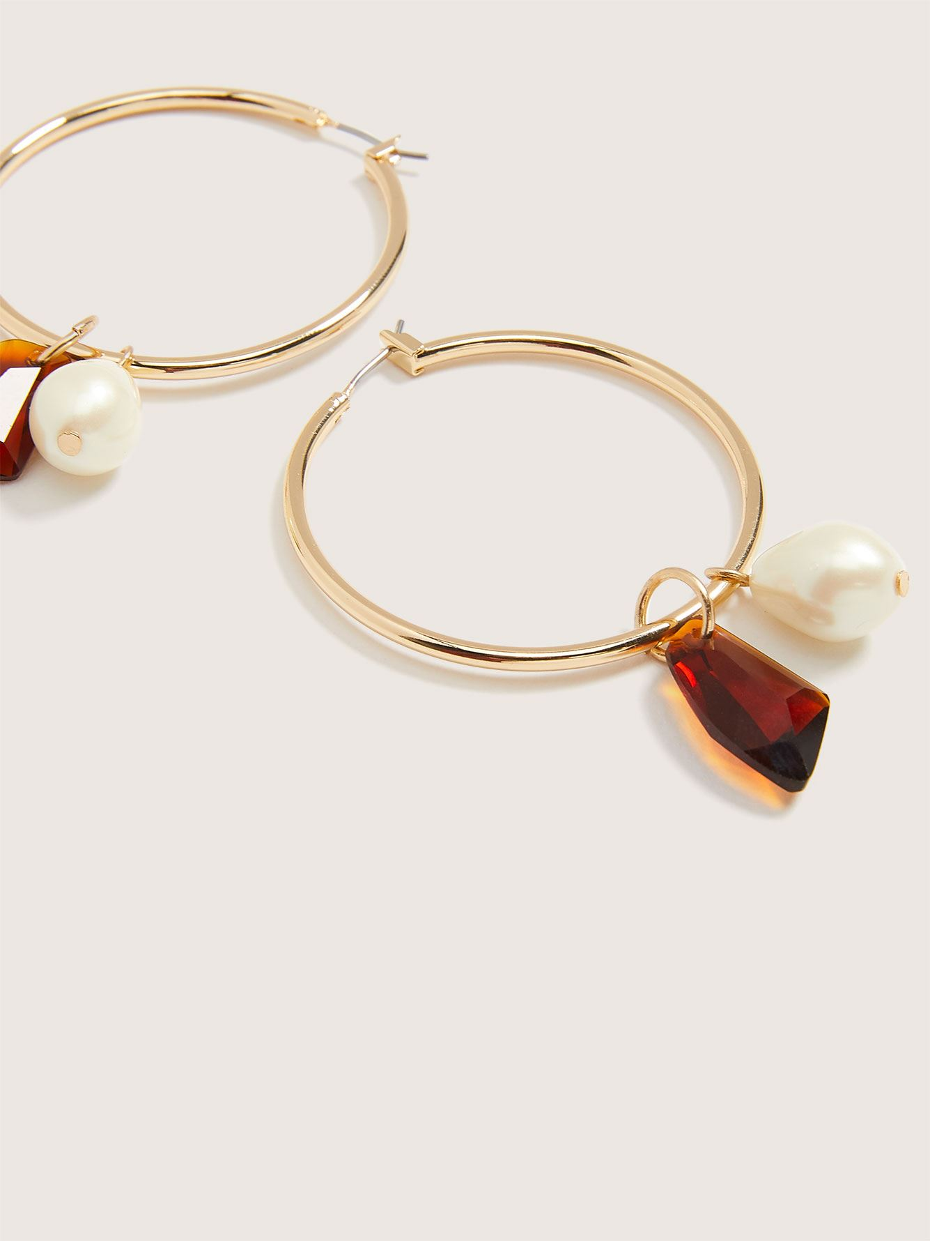 Hoop Earrings with Fresh Water Pearl Charm - Addition Elle