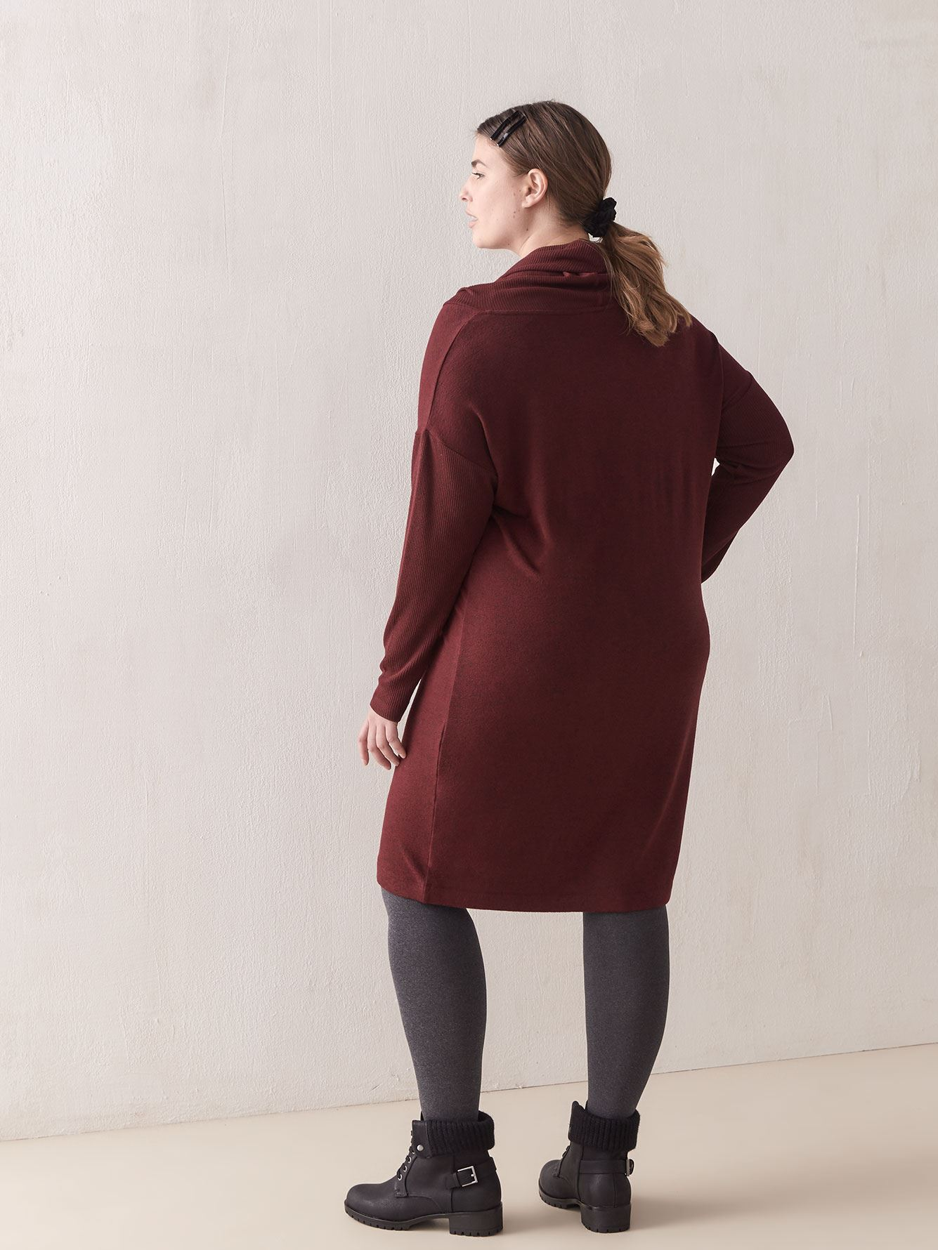 Cowl-Neck Snit Dress - In Every Story