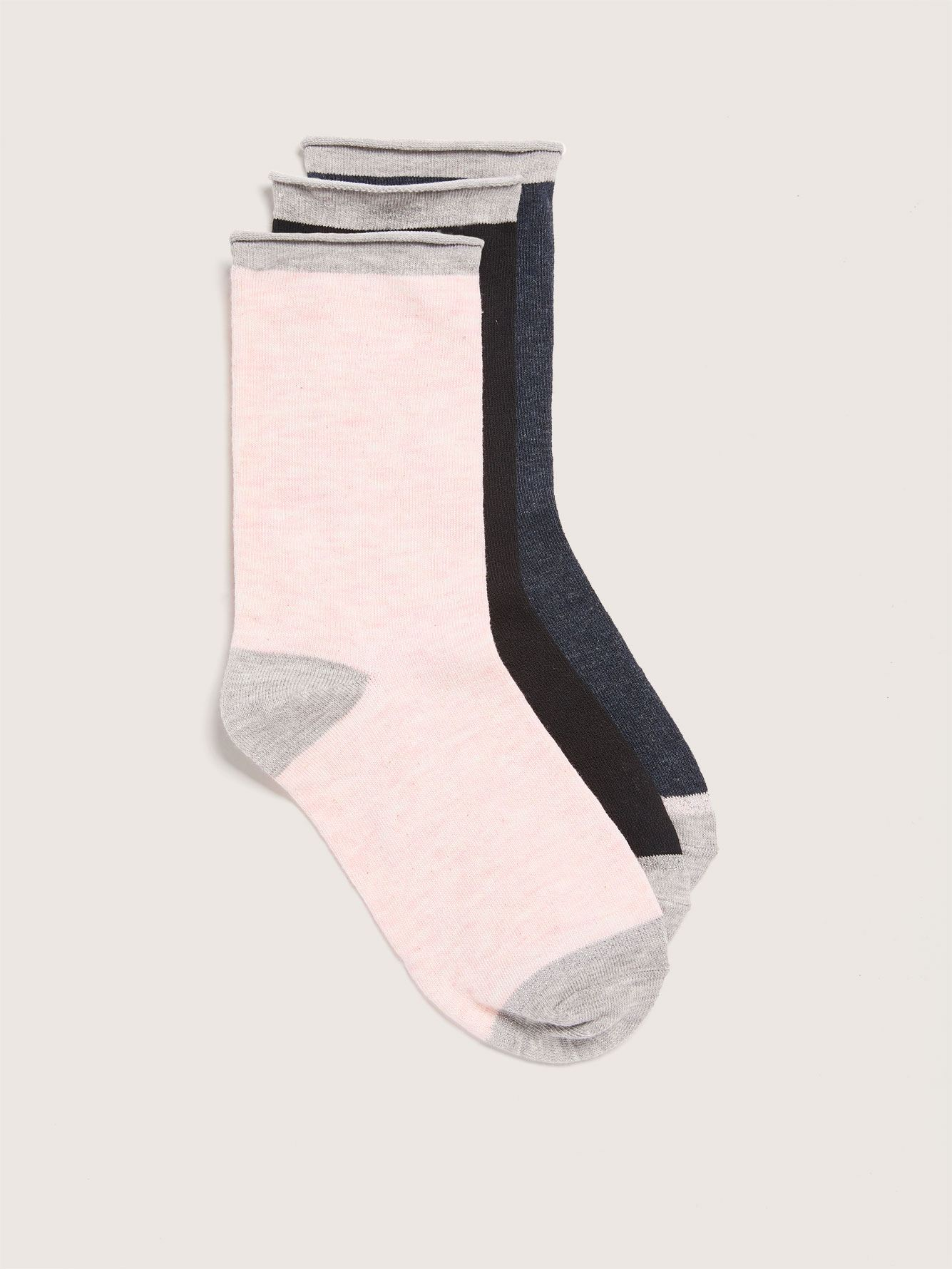 Wide Rolled Edge Socks, Pack of 3 - Addition Elle