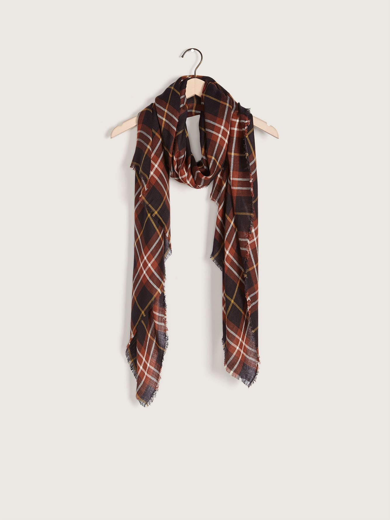 Y/D Plaid Scarf with Fray Ends - Addition Elle