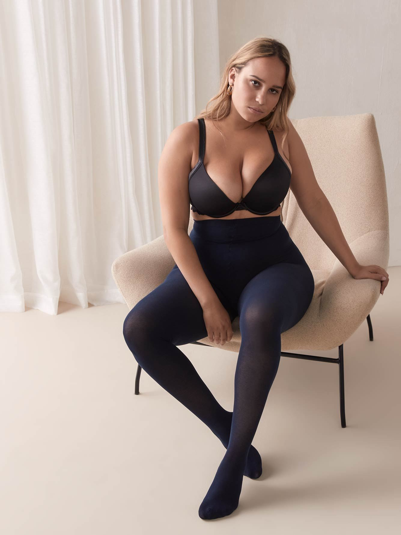Basic Cotton Tights with Sewn-In Panel - Mondor | Penningtons