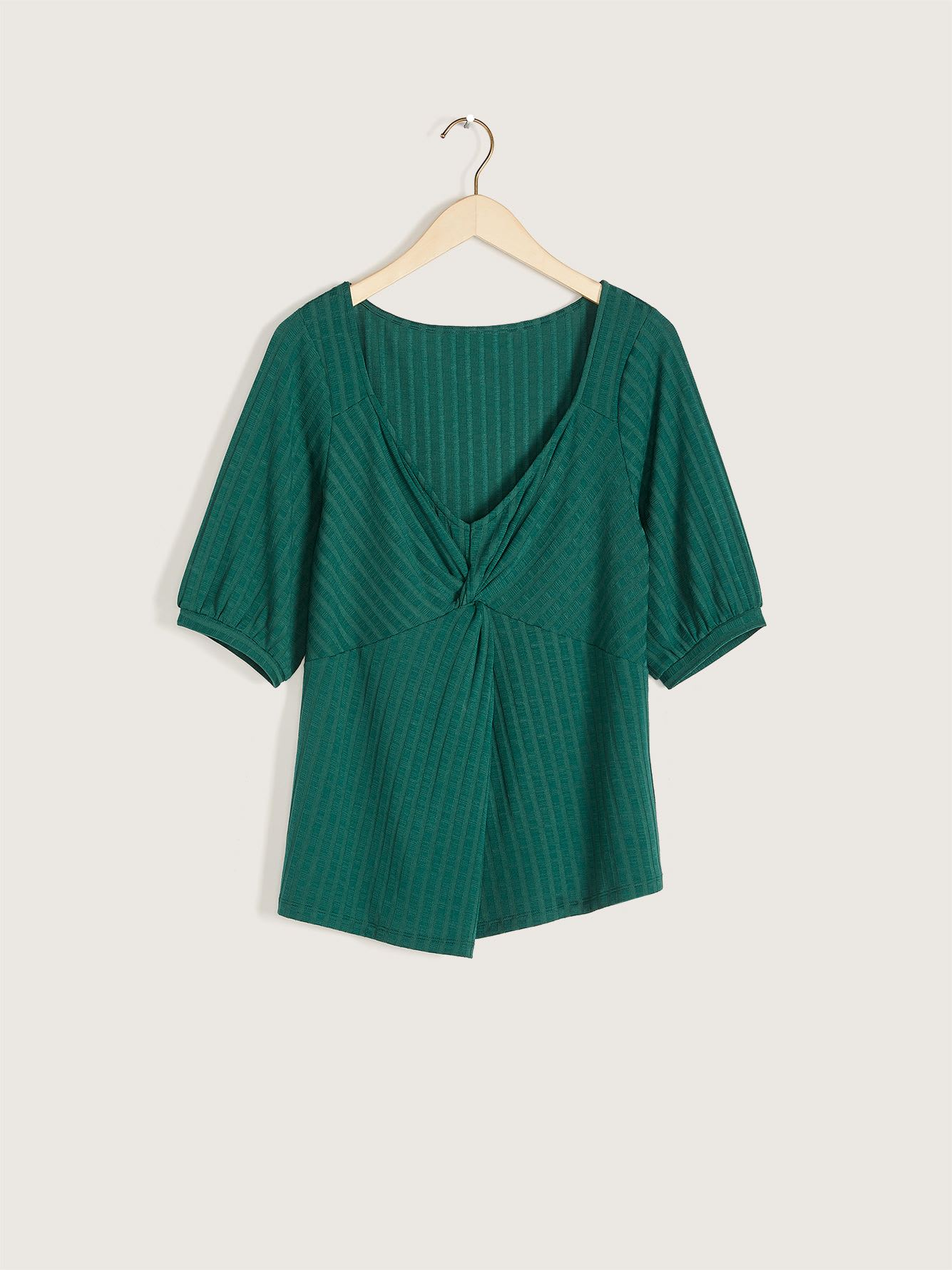 3/4 Sleeve Top with Twist Front - Addition Elle