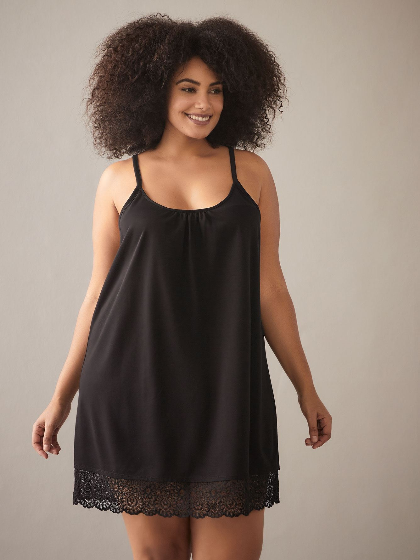 Solid Babydoll with Lace Insert - Addition Elle