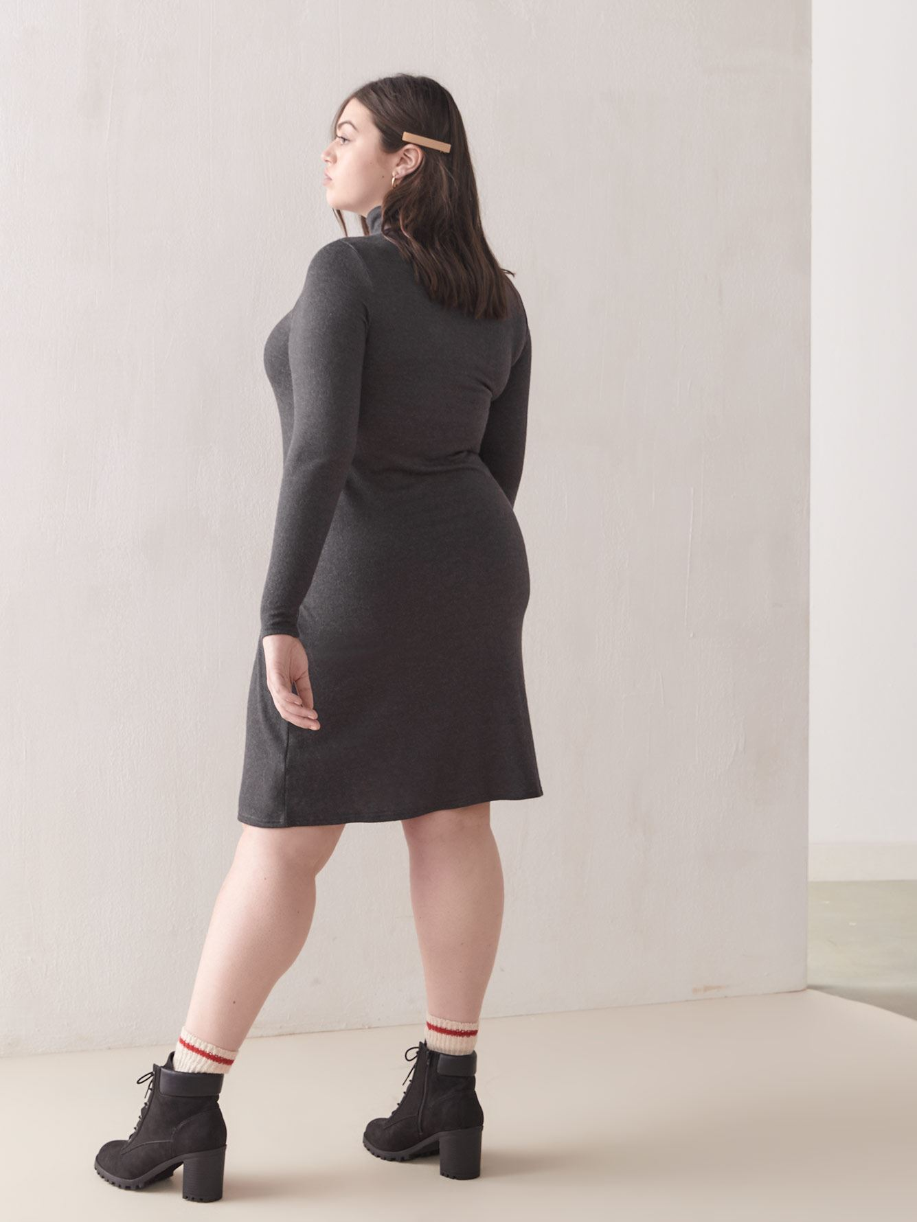 Turtleneck A-Line Sweater Dress - Addition Elle