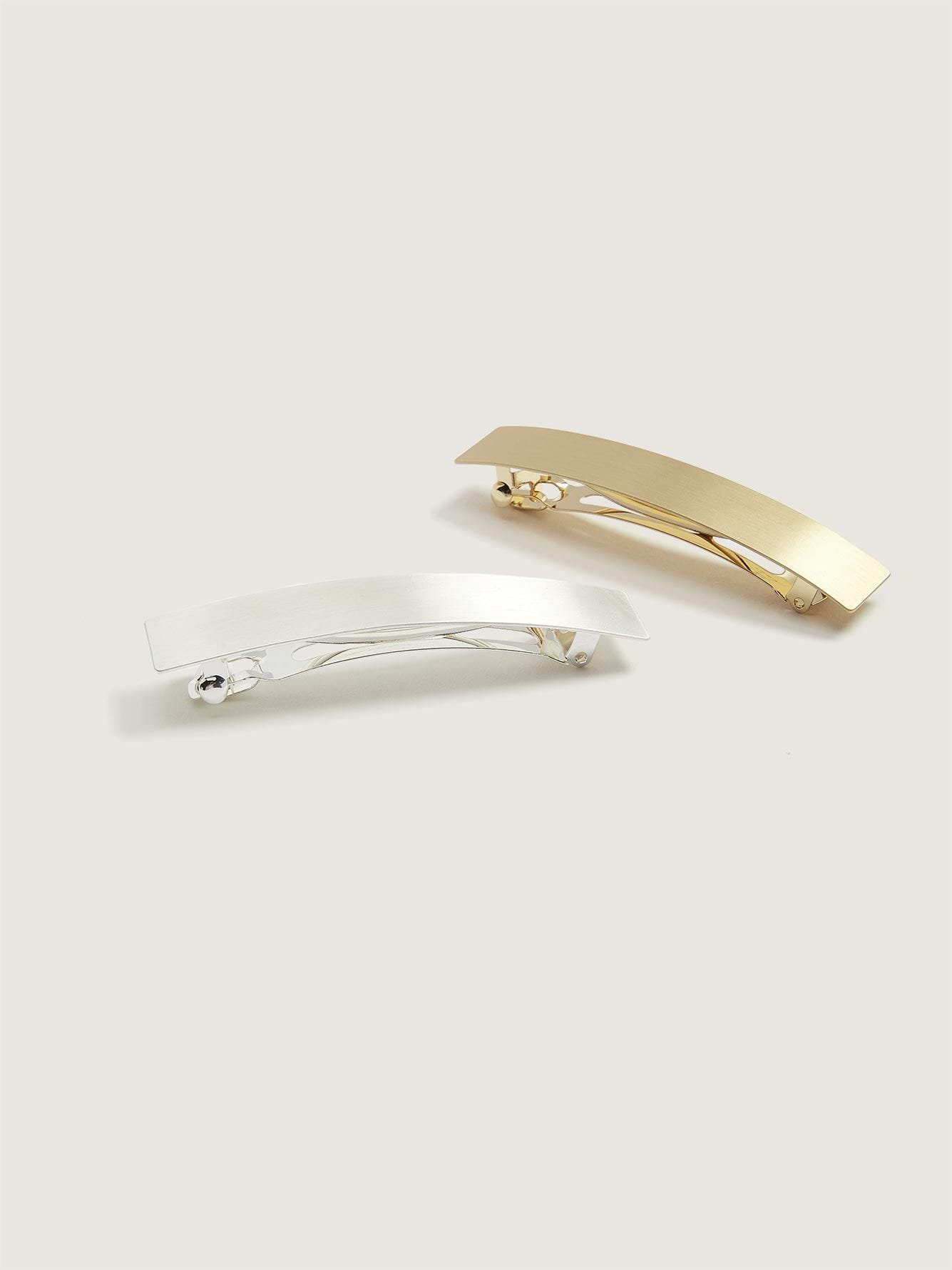 2 Brushed Metal Hair Clips