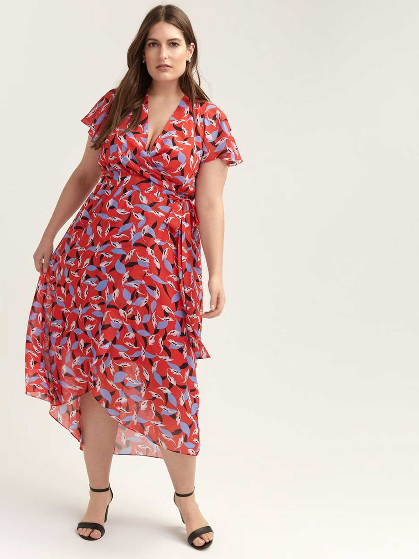 Printed Flutter Sleeve Faux-Wrap Maxi Dress - In Every Story