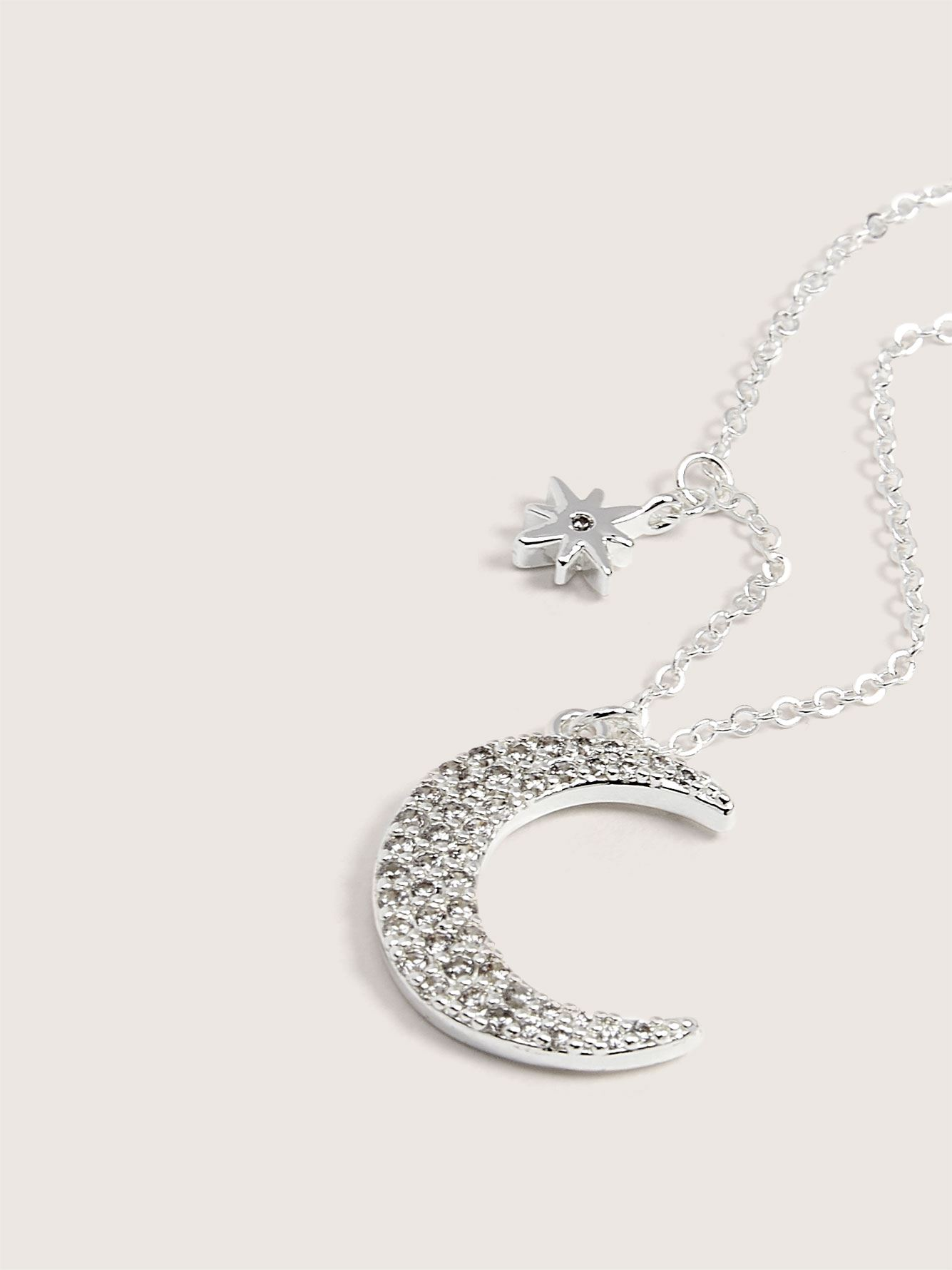 Silver Plated Moon & Star Pendant Necklace - Addition Elle