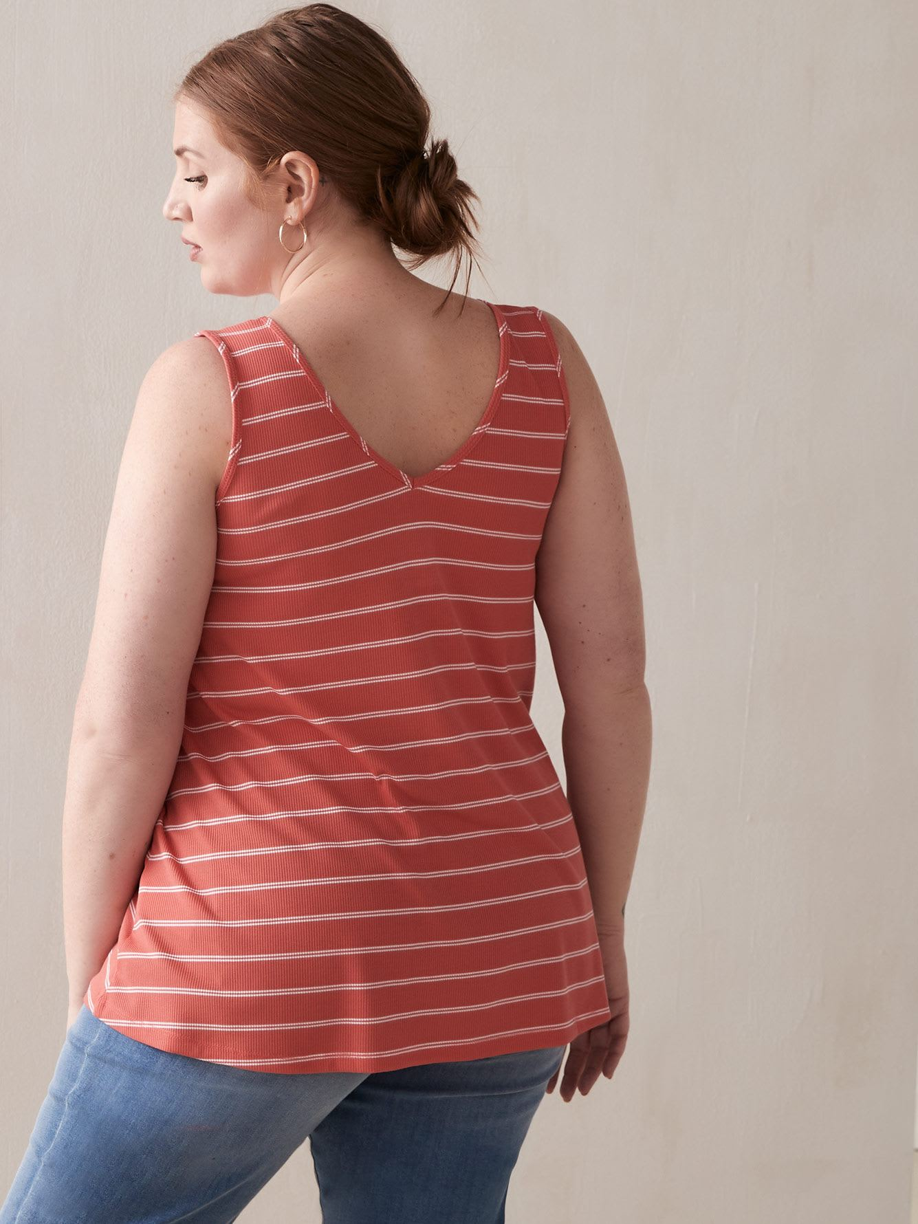 Ribbed V-Neck Tank Top with Stripes
