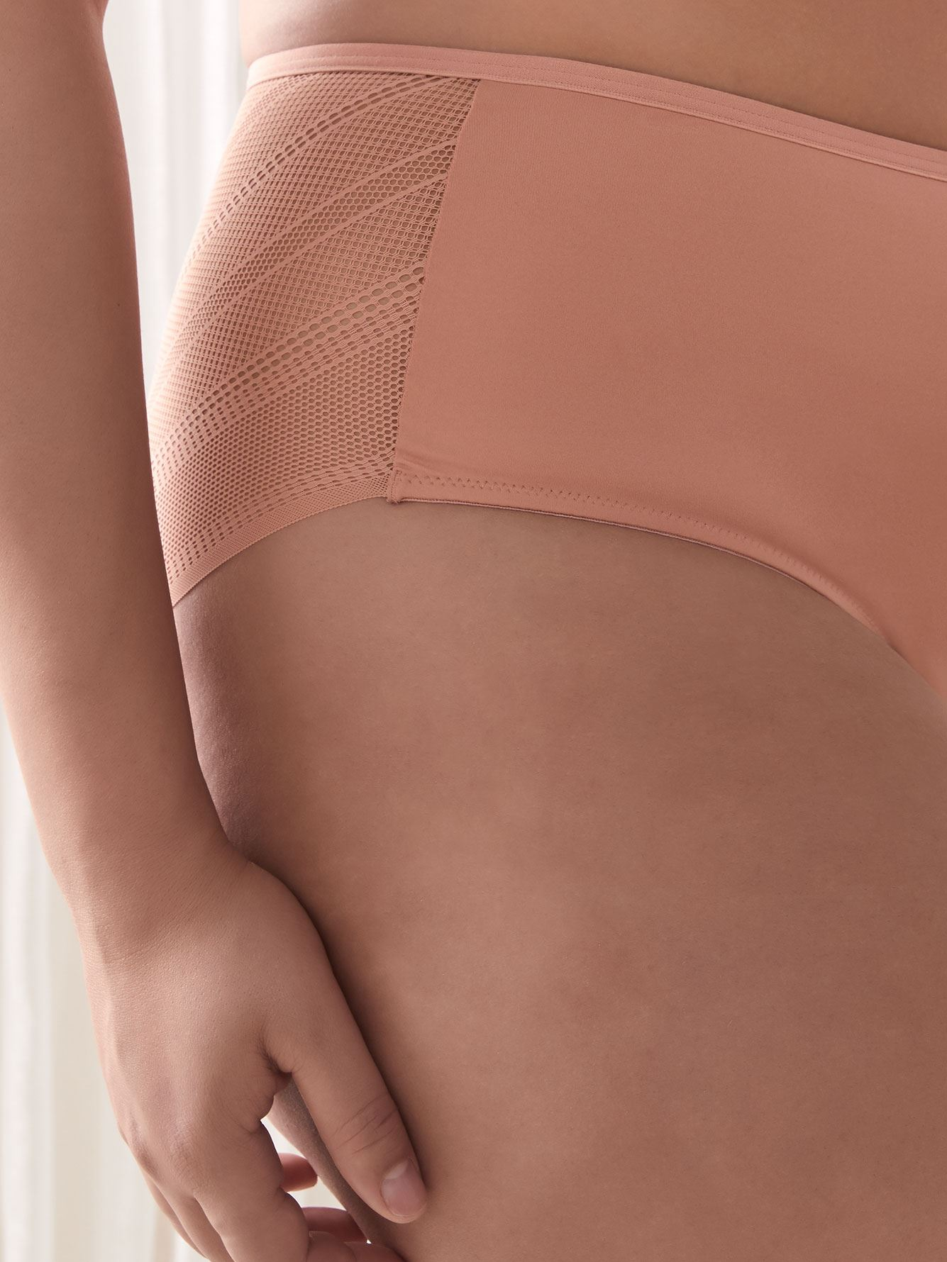 Microfiber and Lace High Cut Panty - Déesse Collection
