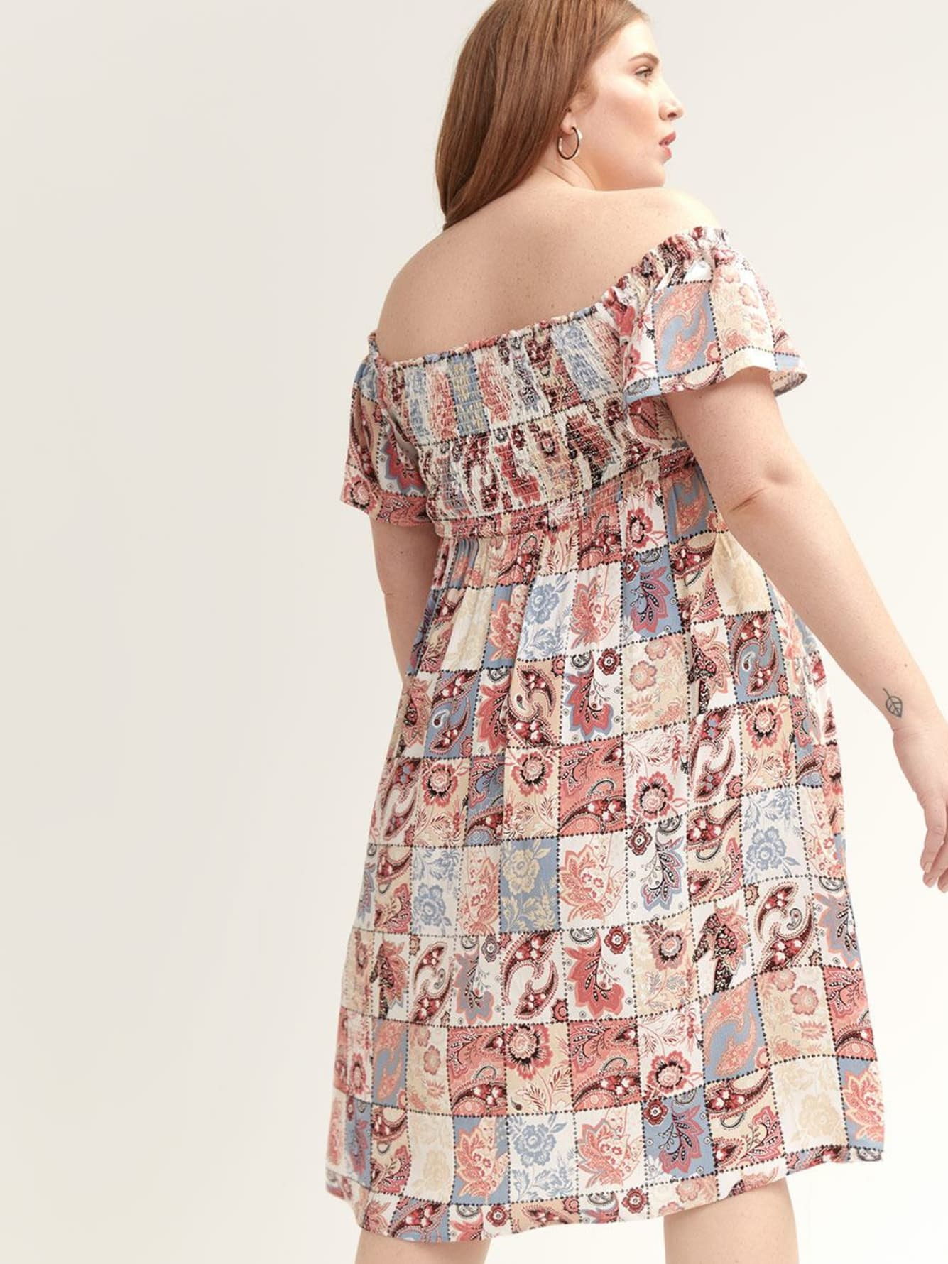 Off-the-Shoulder Patchwork Print Dress