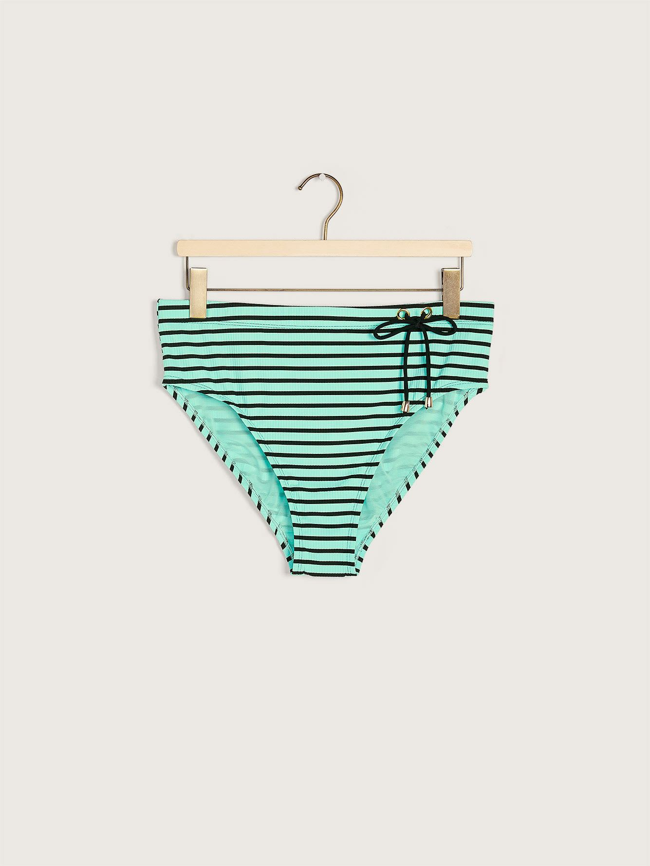 High Waist Striped Swim Brief with Tie - Addition Elle