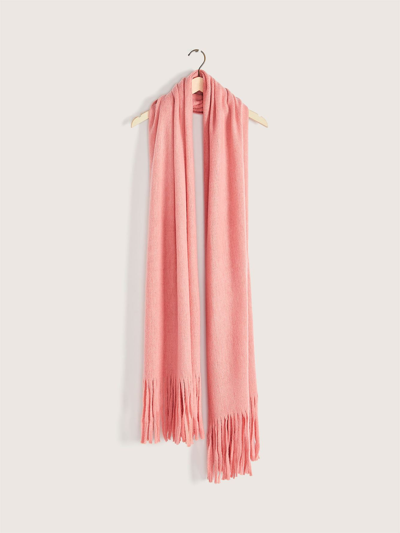 Oblong Brushed Scarf with Fringe - Addition Elle