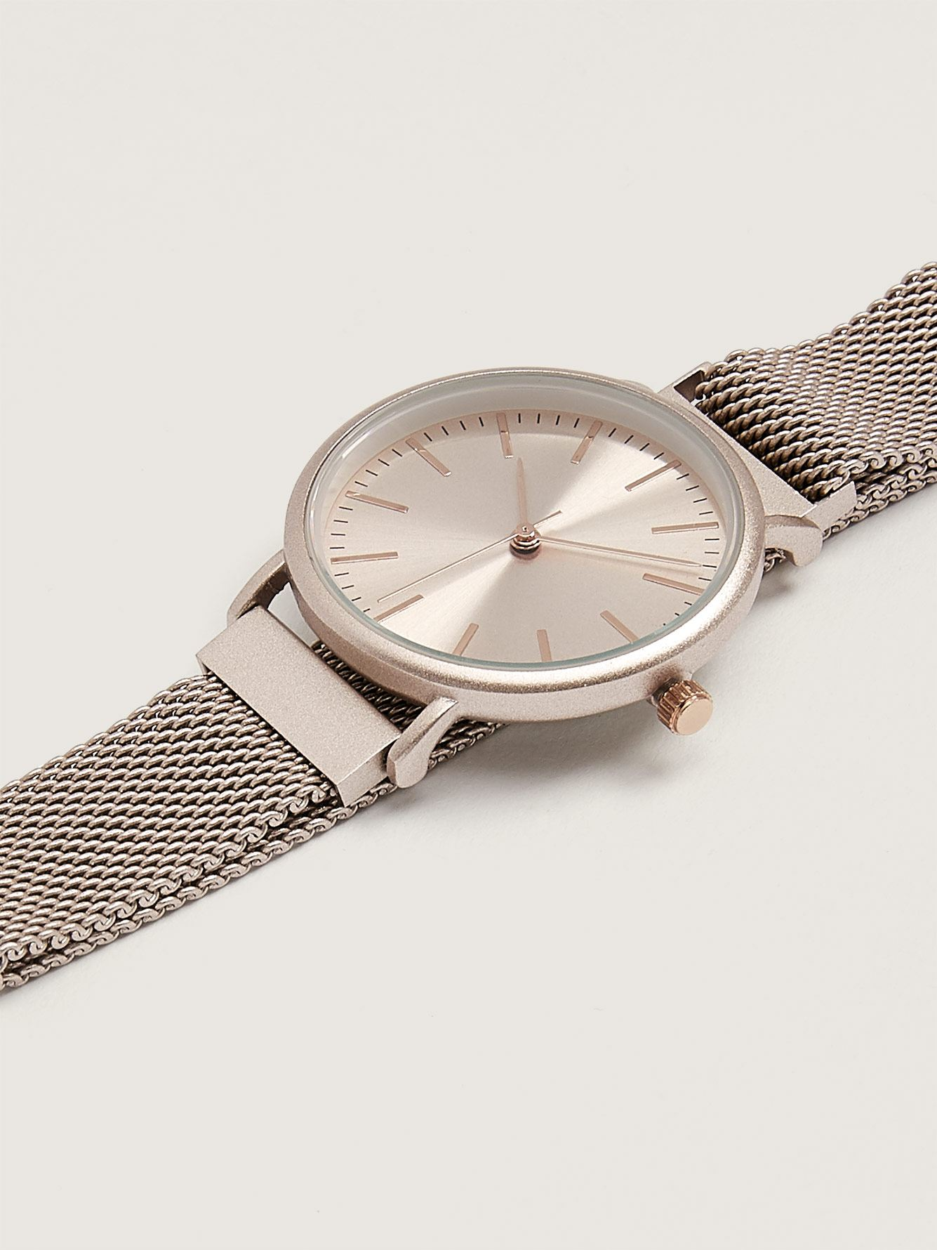 Champagne Mesh Watch with Magnetic Closure