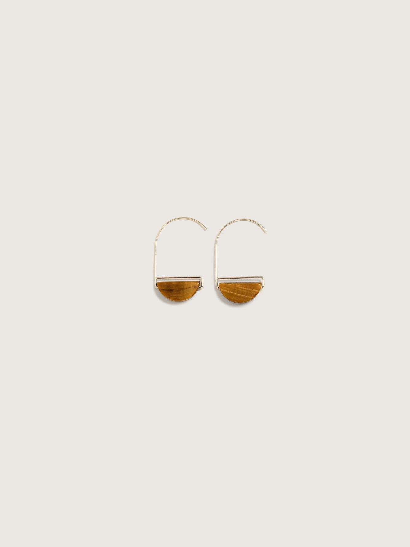 Crescent Hoop Earrings with Semi-Precious Stone - Addition Elle