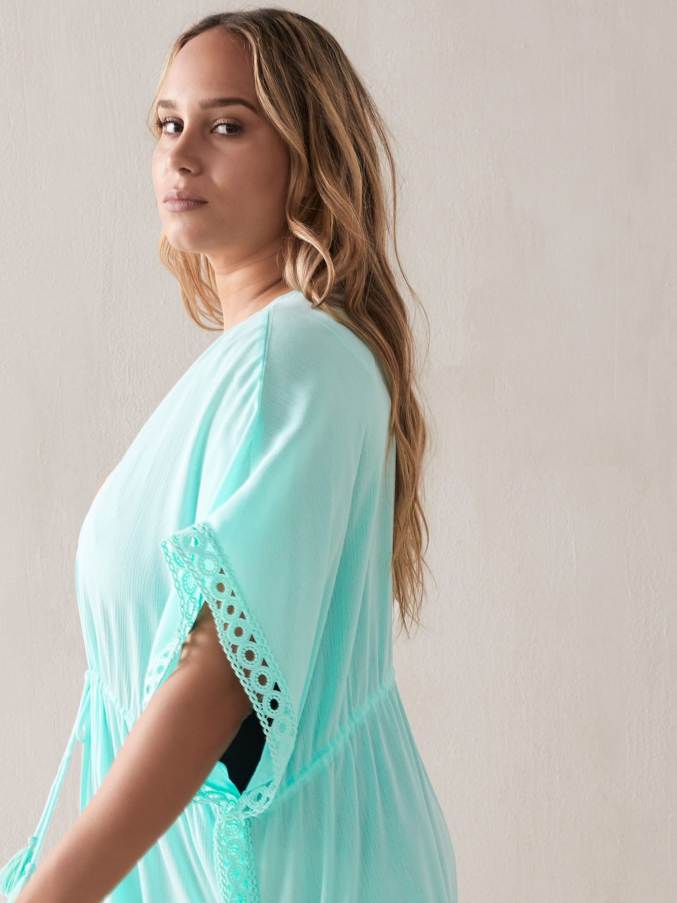 Solid Cover-Up with Crochet Trim - Sea