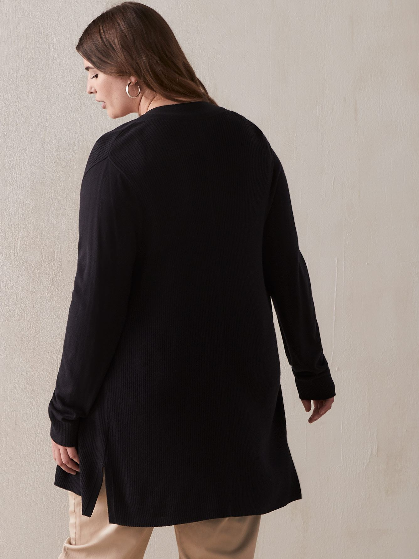 Long Black Cardigan with Pointelle Details