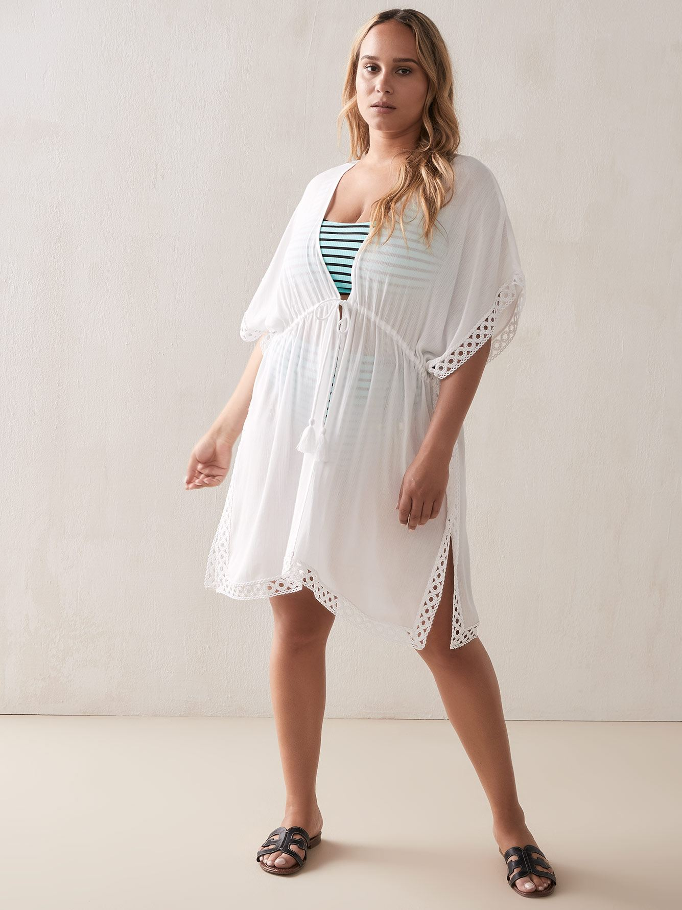 Robe de plage unie bordée de broderie - Addition Elle
