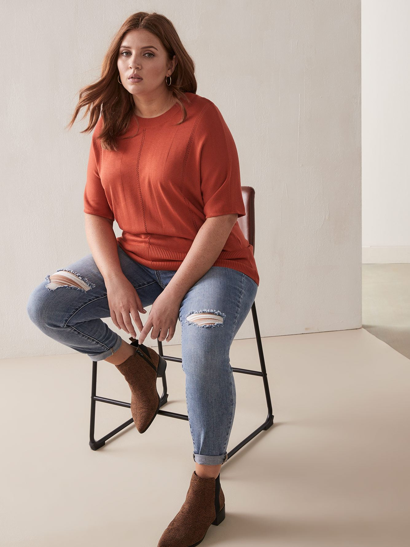 Scoop Neck Short Sleeve Sweater with Pointelle