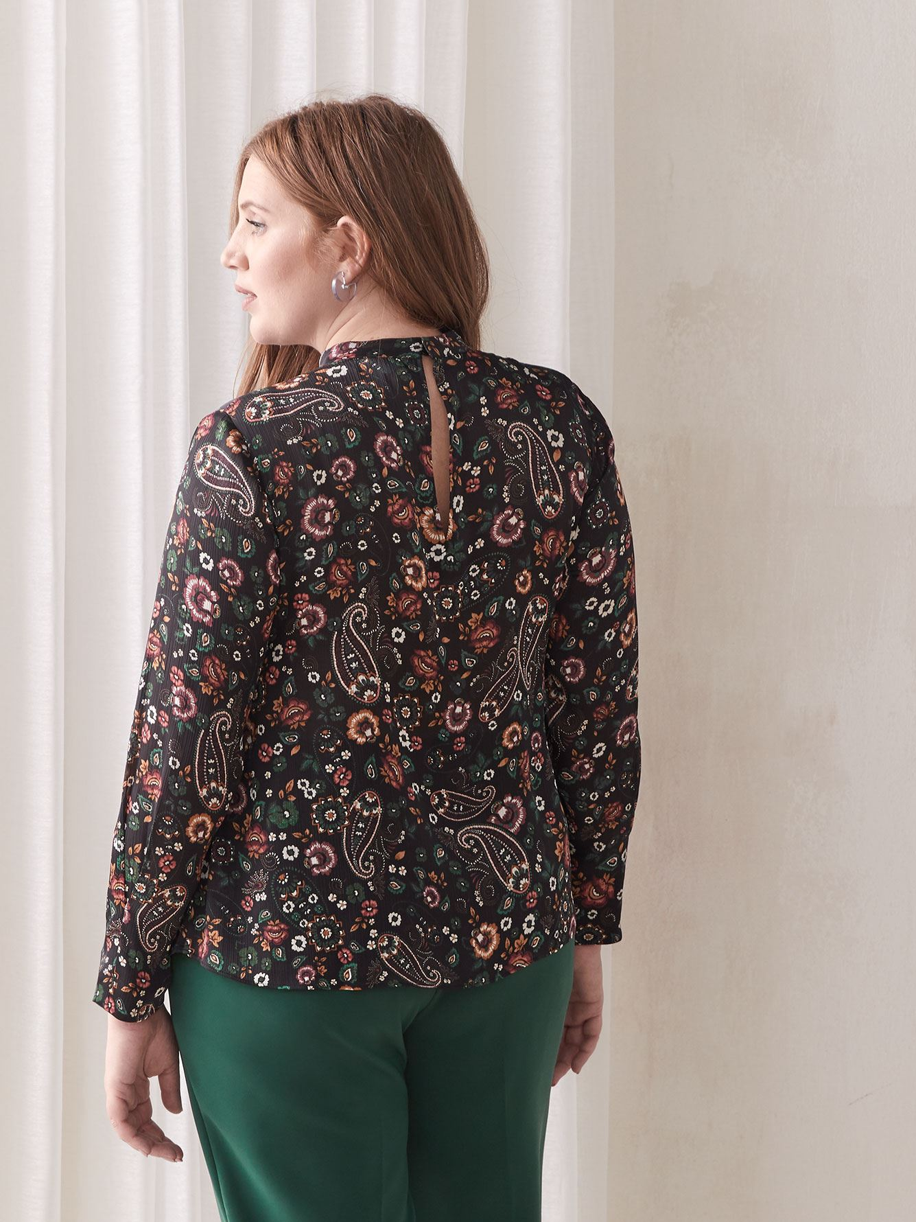 Mock-Neck Paisley Blouse - Addition Elle