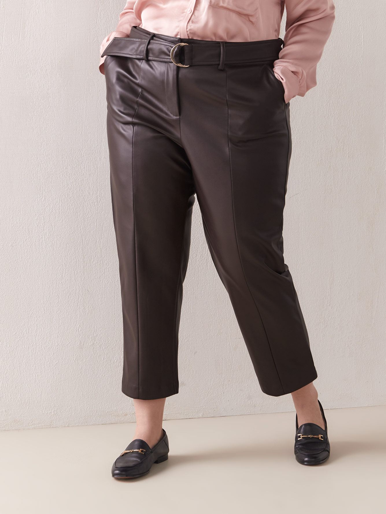 Belted Faux-Leather Pant - Addition Elle