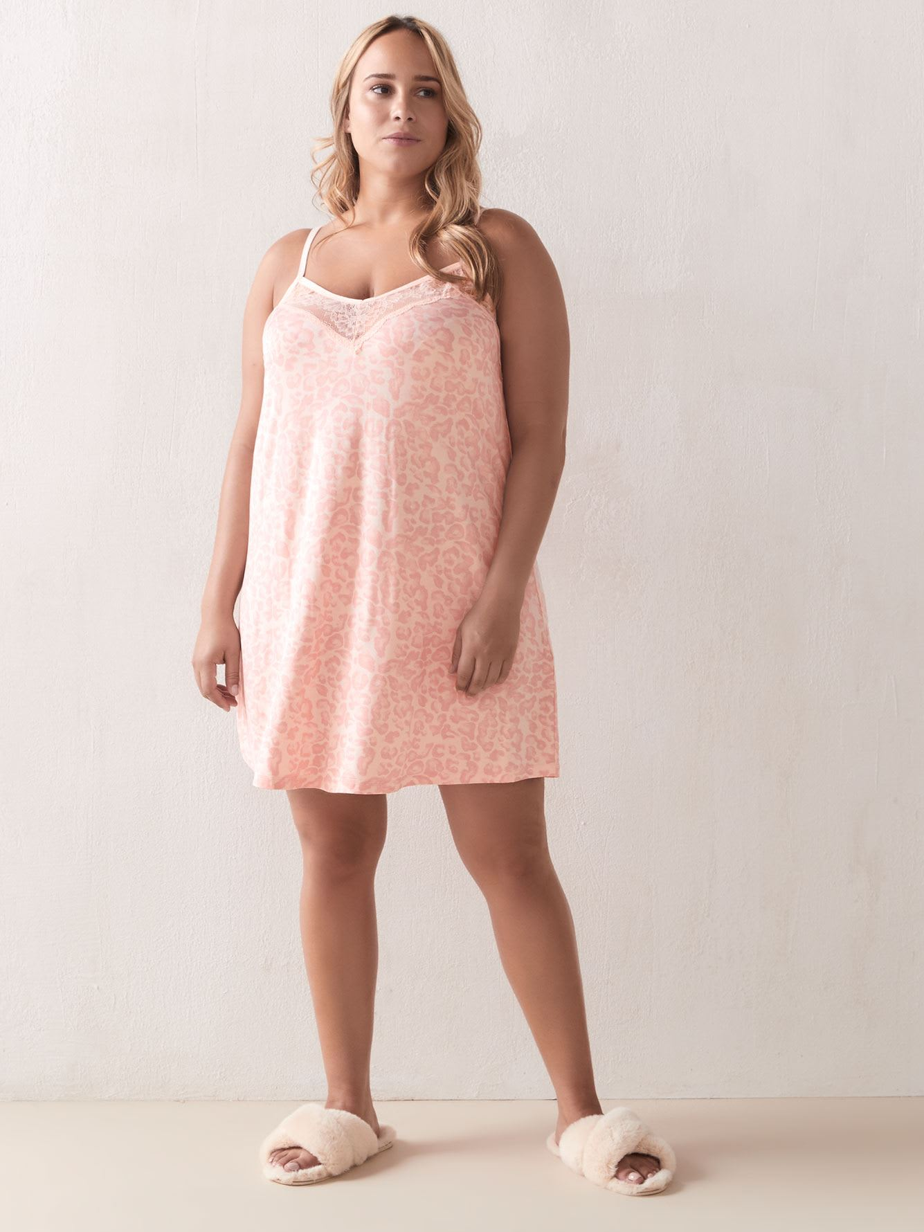 Printed Babydoll with Lace Insert - Addition Elle
