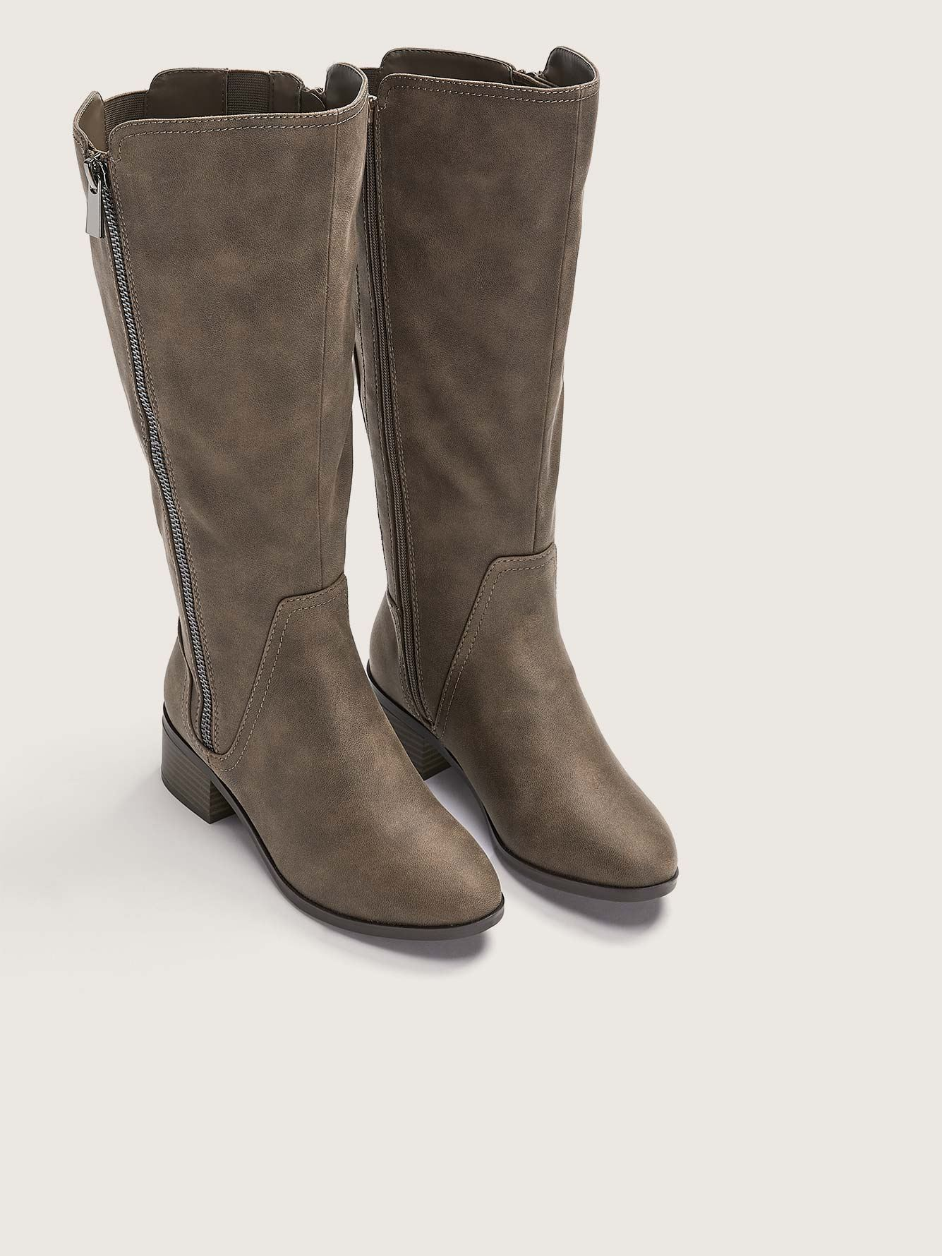 Wide Tall Boots with Side Zipper - Addition Elle