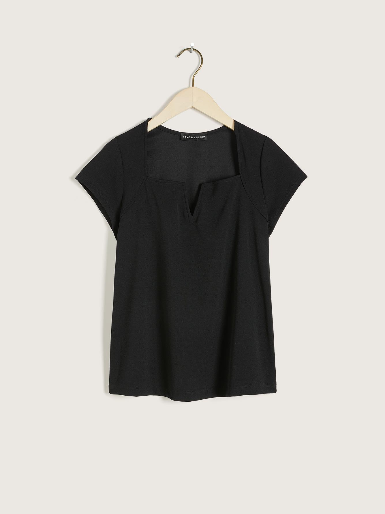 Short-Sleeve Tee with V-Notch Detail - Love & Legend