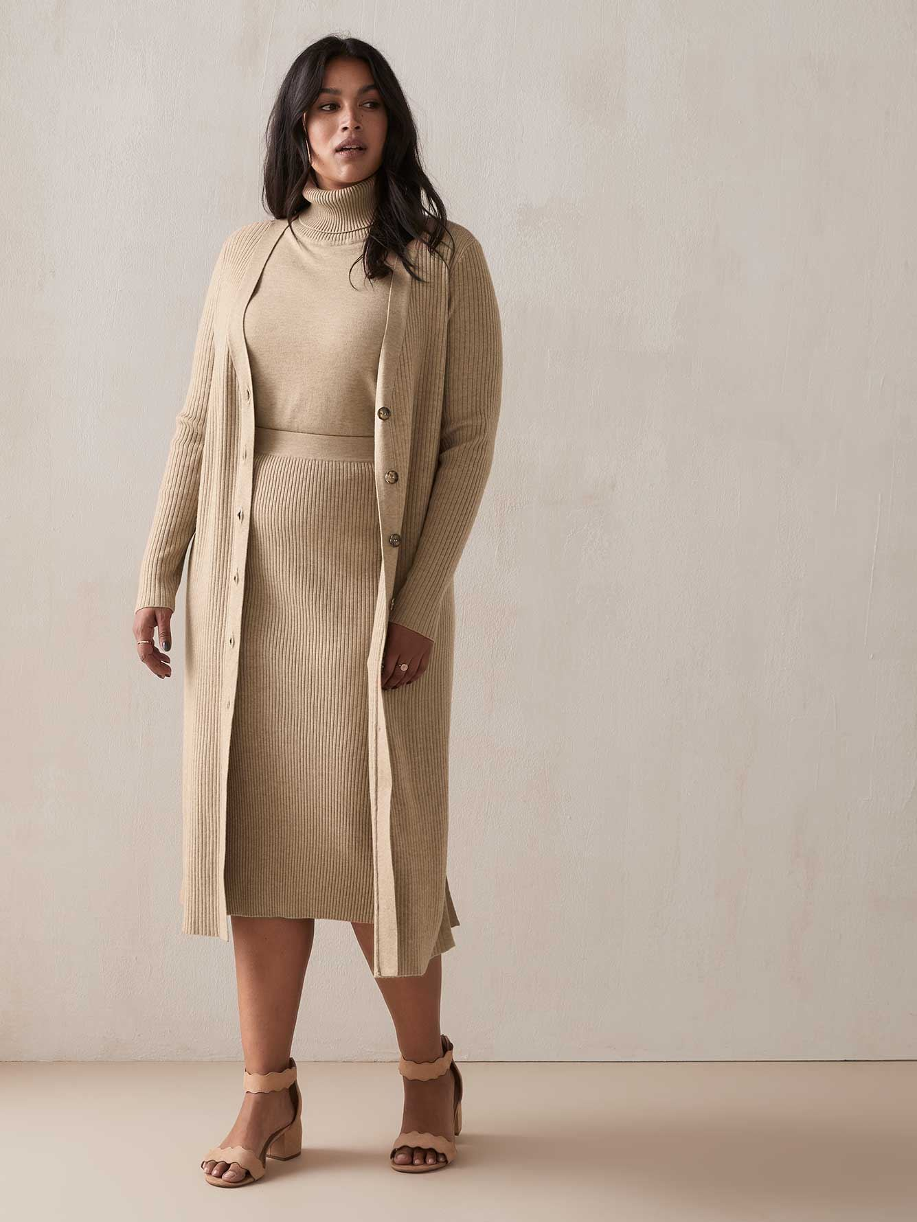 Long Button-Front Cardigan - Addition Elle